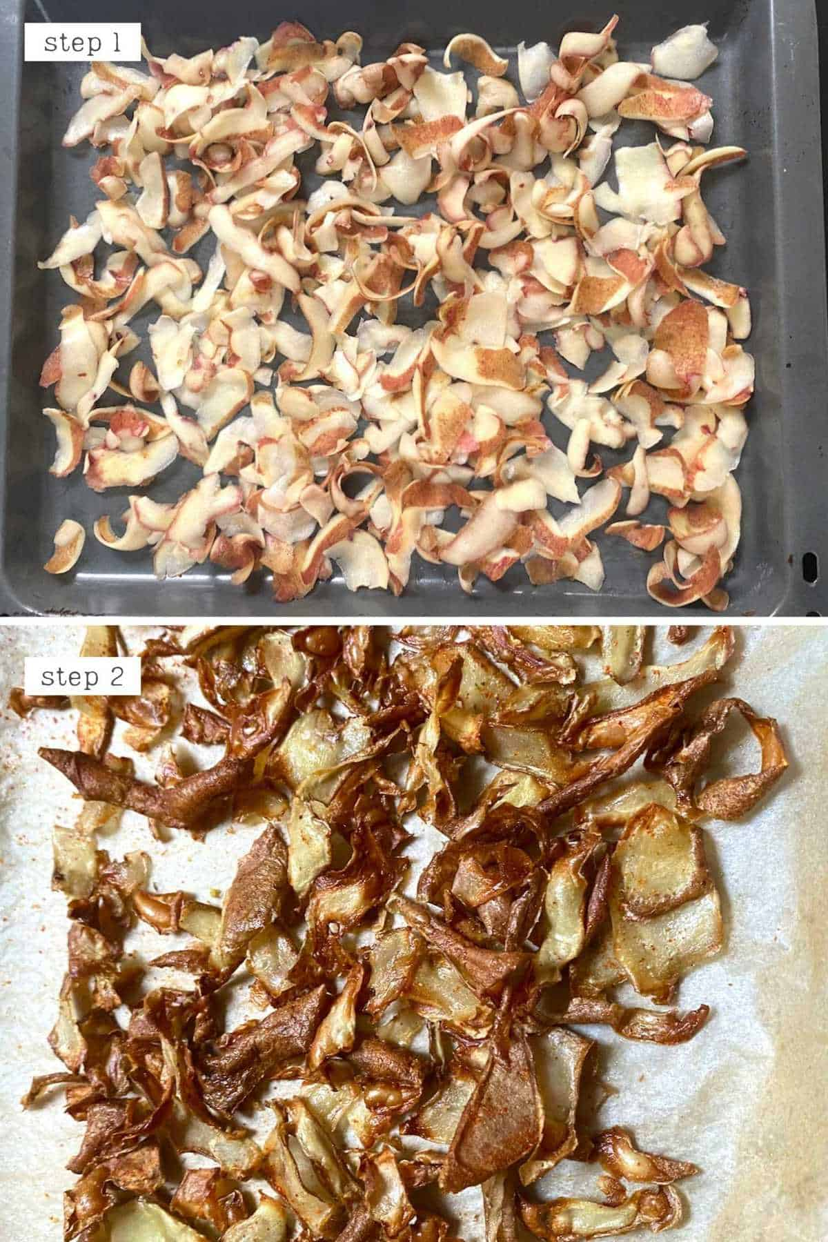 Steps for baking potato peel chips