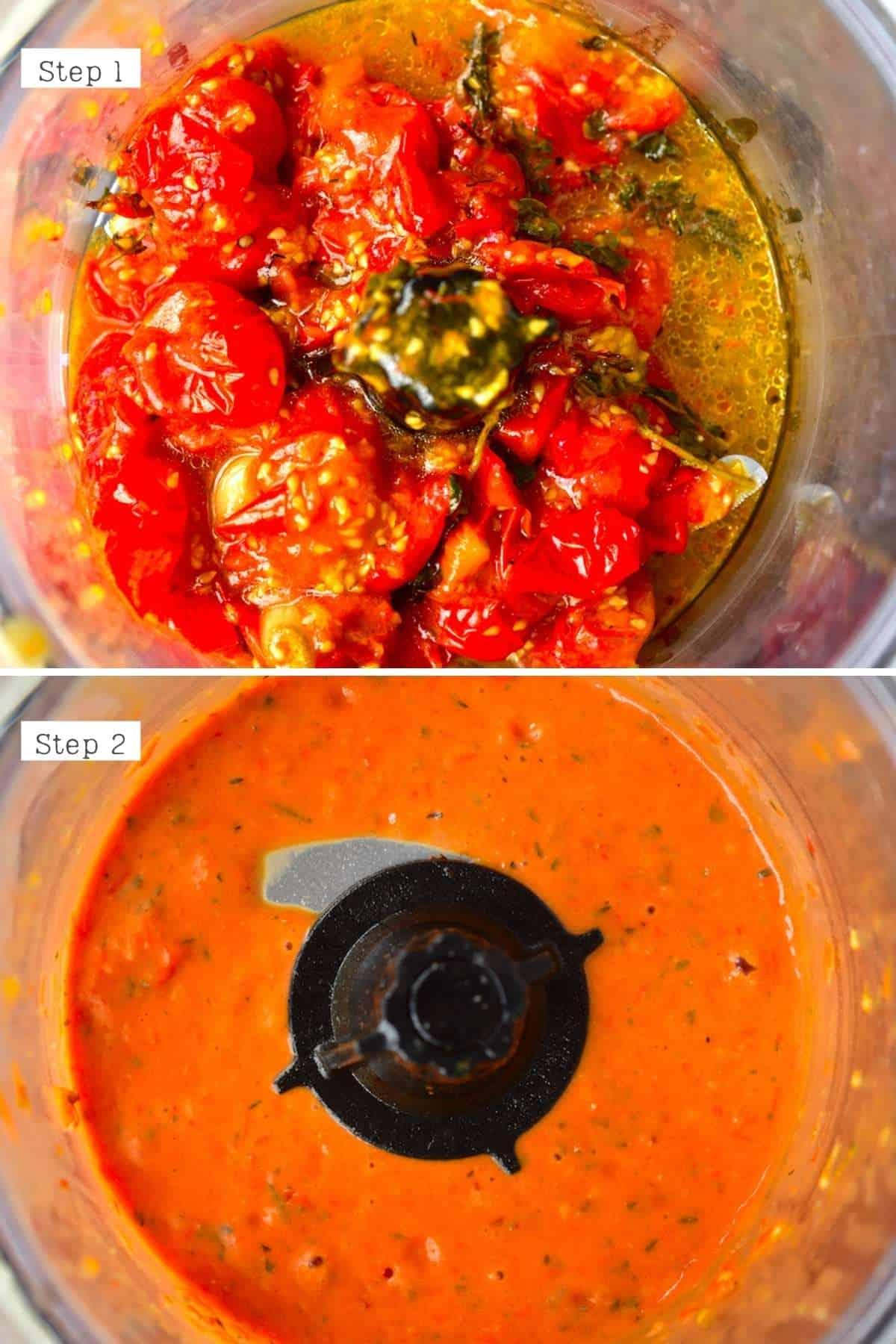 Steps for blending tomato sauce