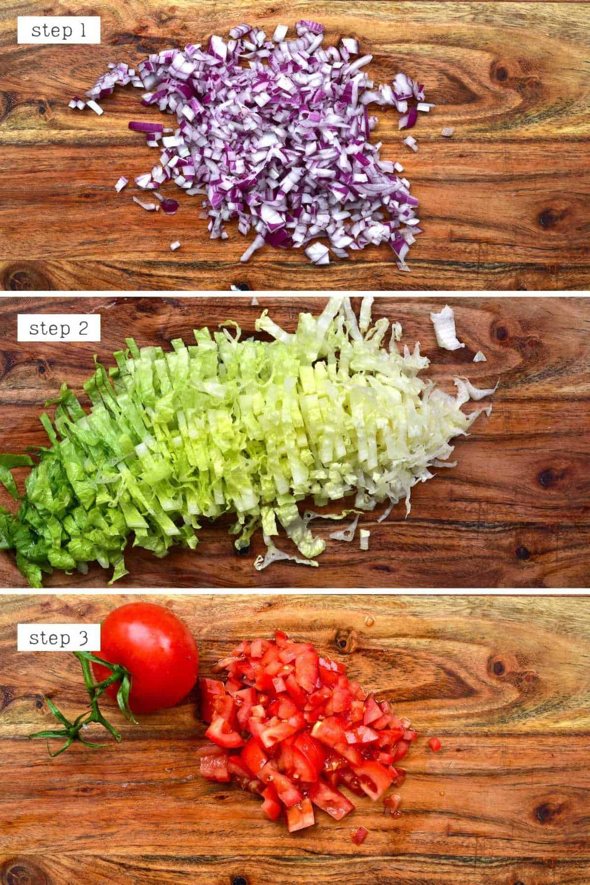 Steps for chopping veggies