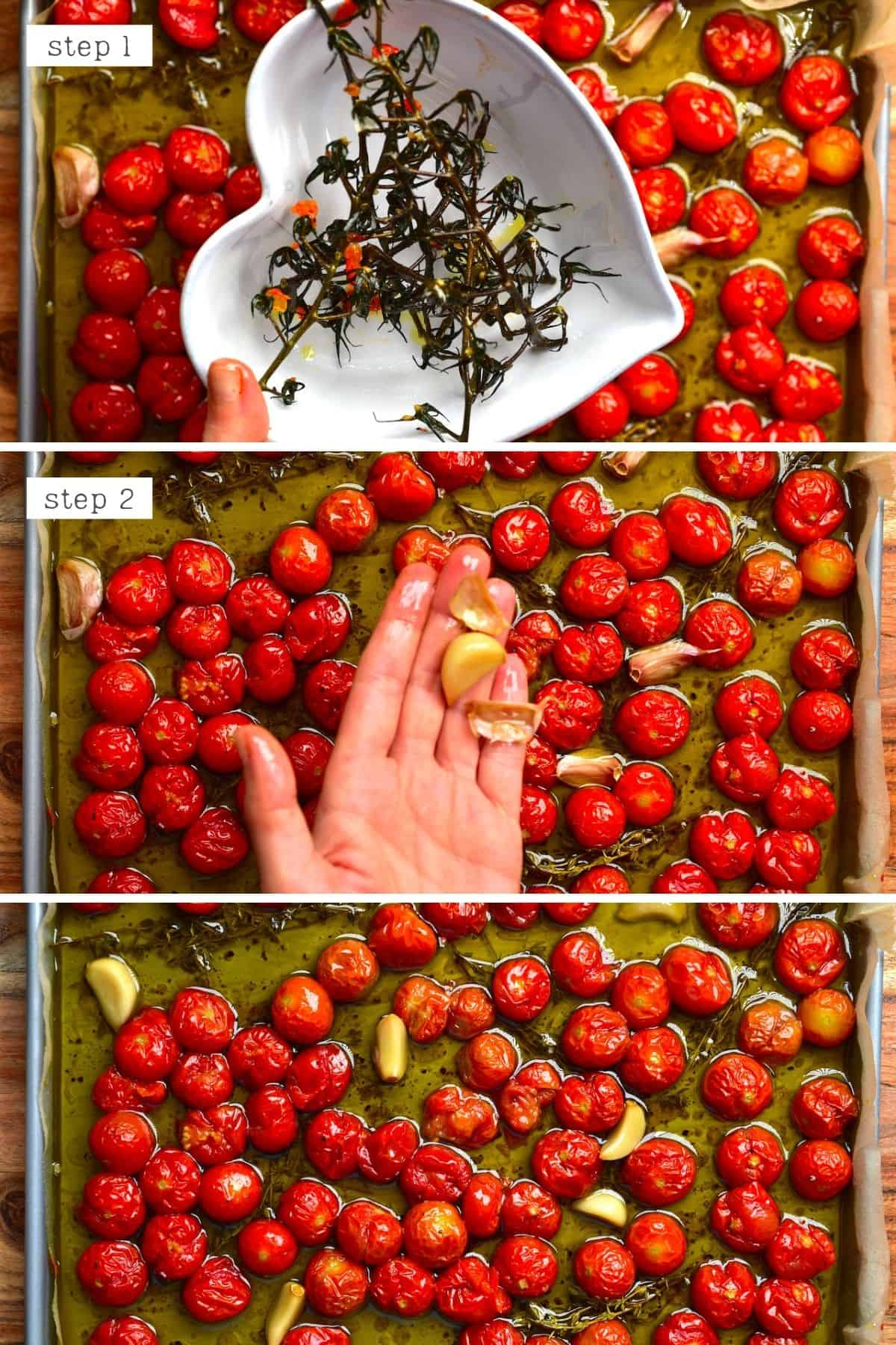 Steps for cleaning roasted tomatoes