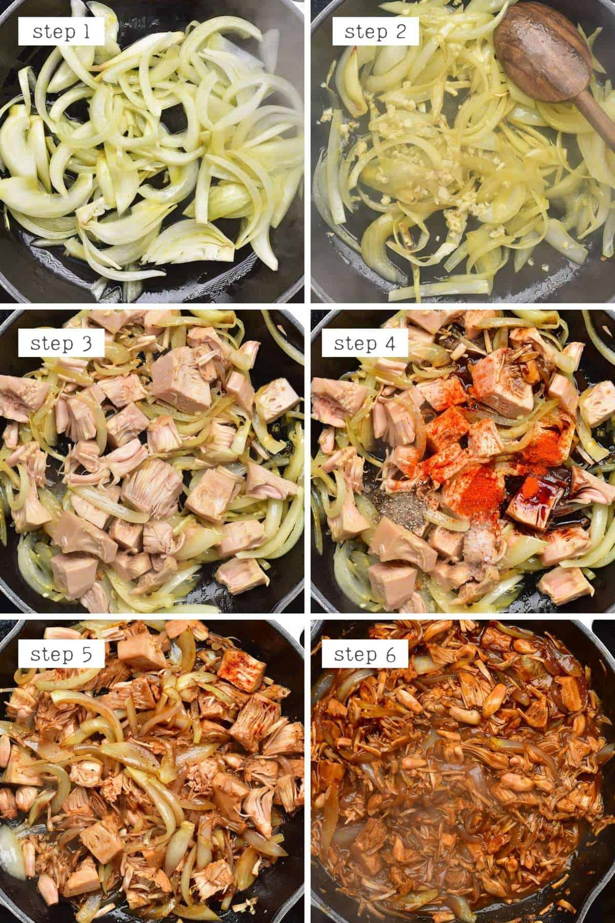 Steps for cooking BBQ jackfruit