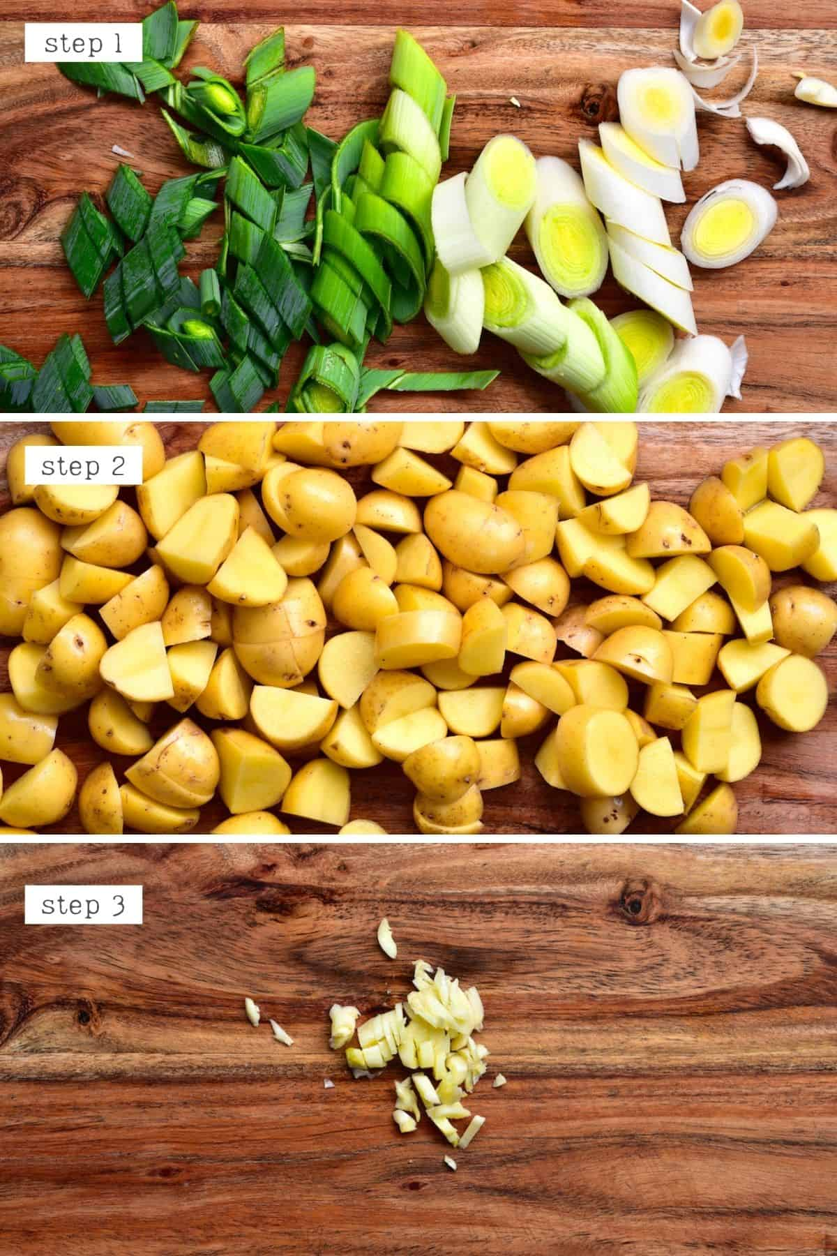 Steps for cutting leek and potatoes