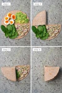 Steps for folding a breakfast tortilla