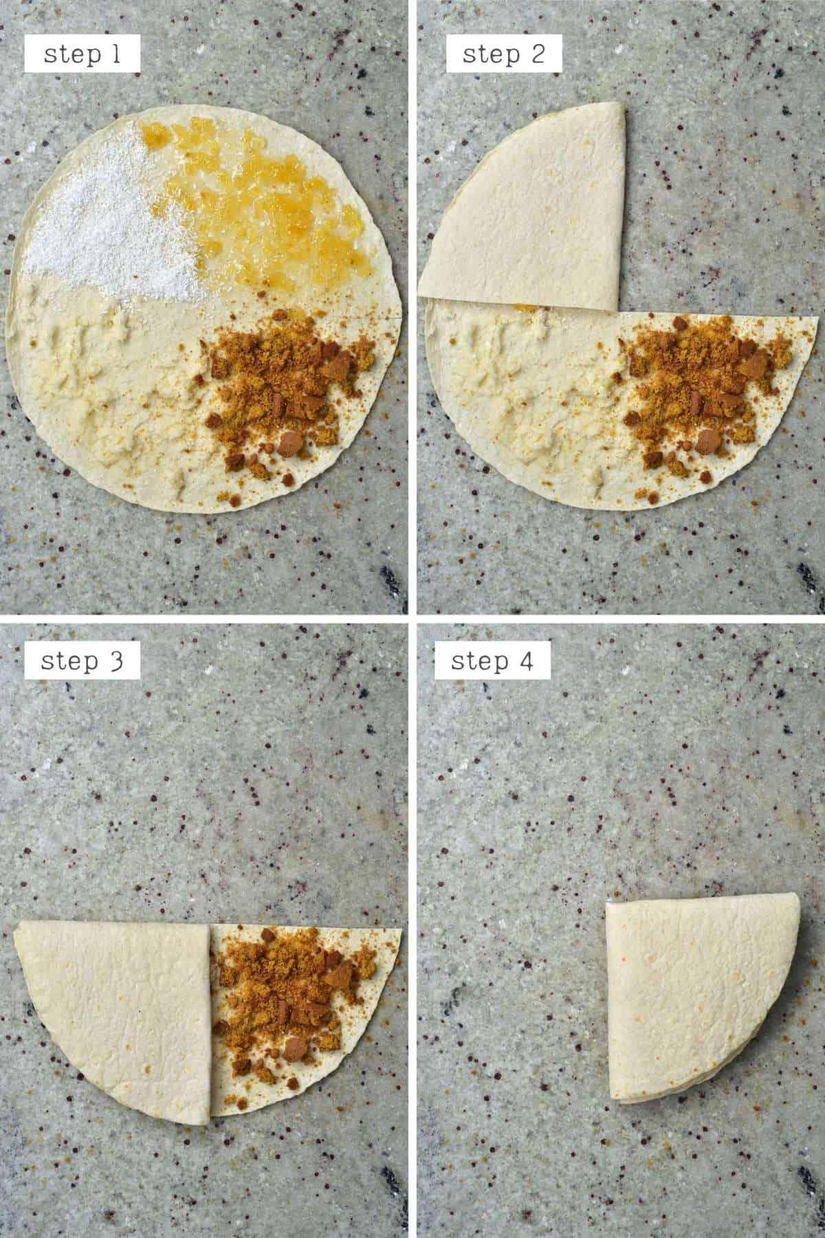Steps for folding a tortilla