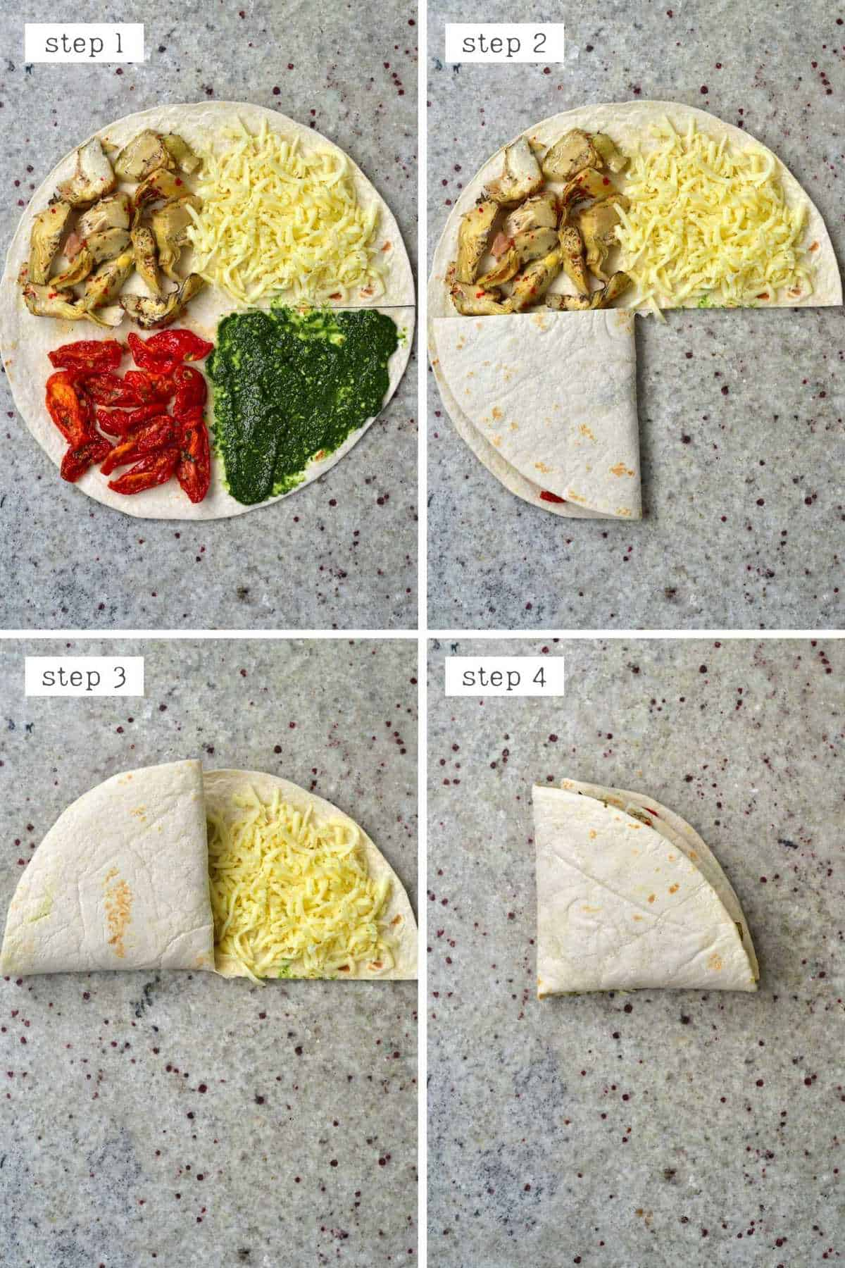 Steps for folding a tortilla