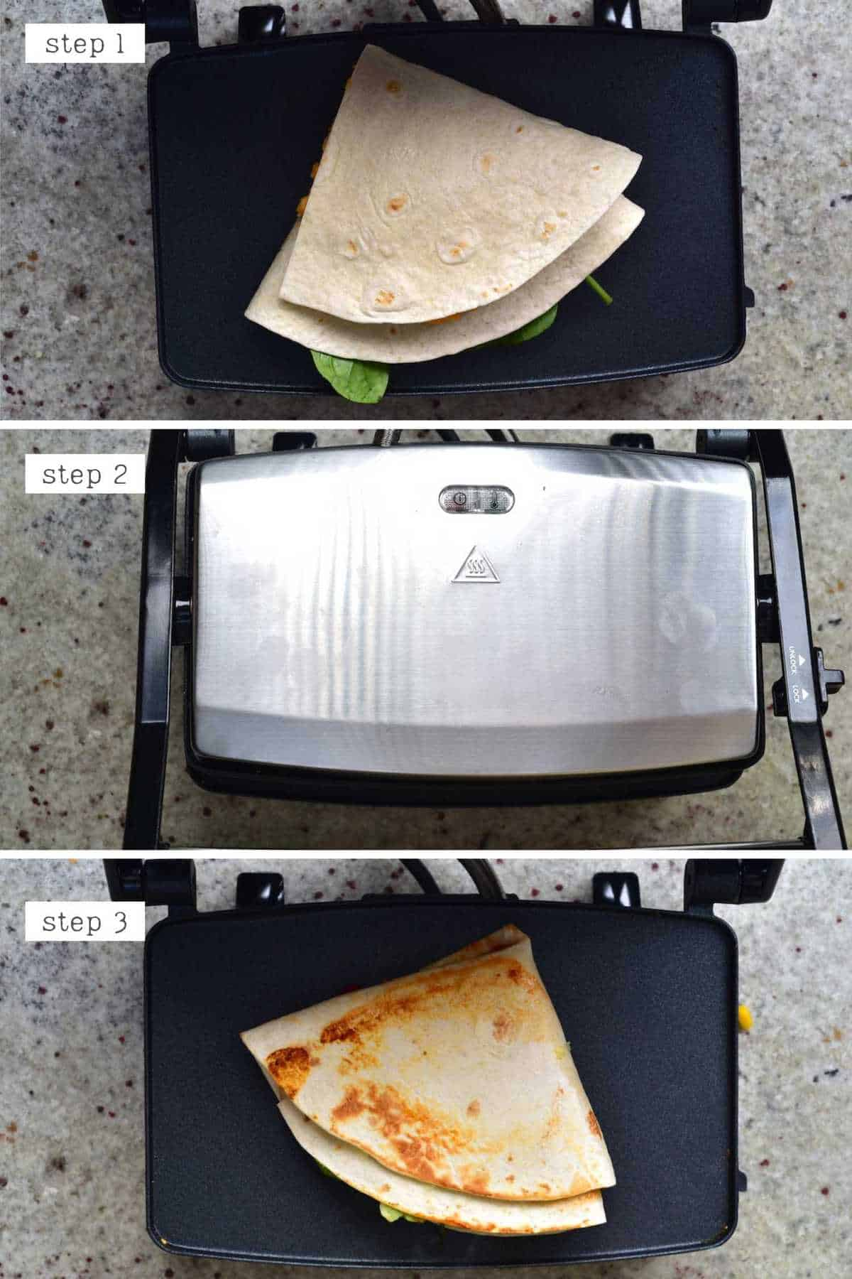 Steps for heating up a tortilla