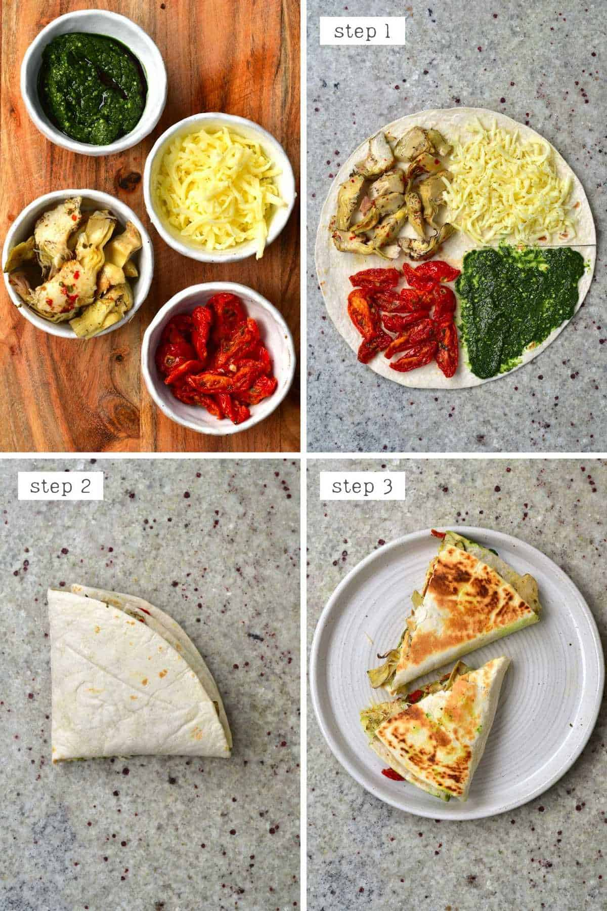 Steps for making Italy-inspired tortilla