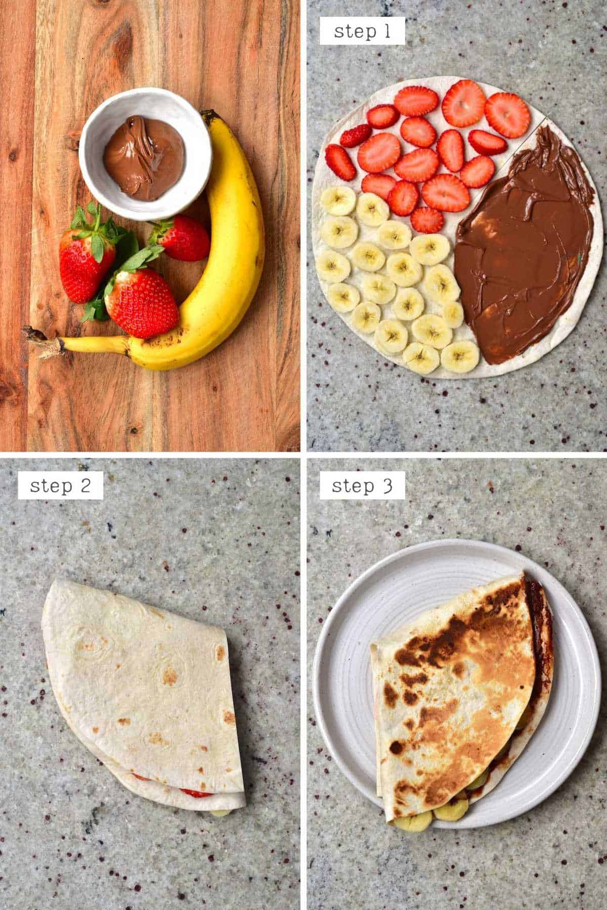 Steps for making Nutella Tortilla