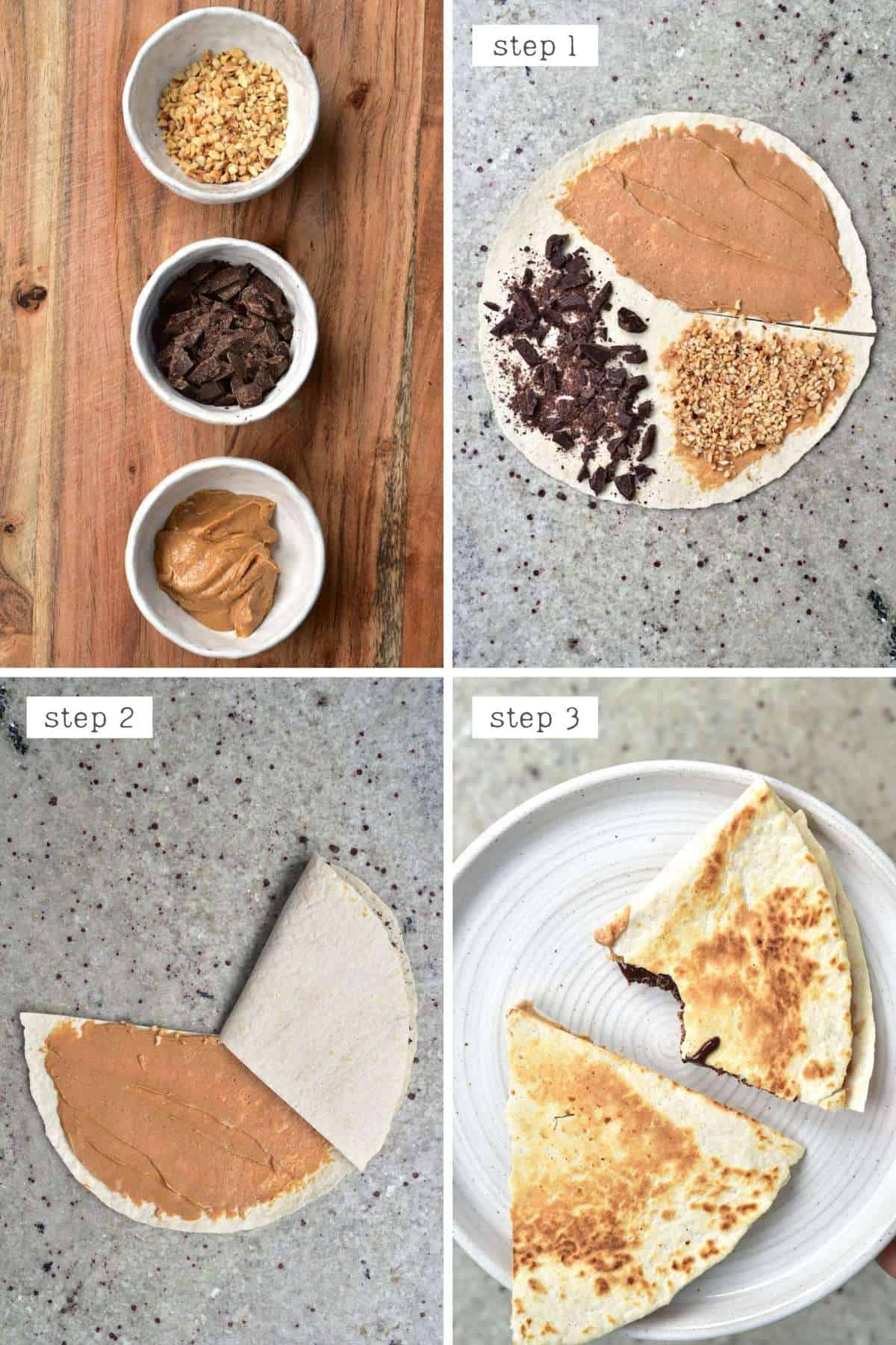 Steps for making PB and chocolate tortilla