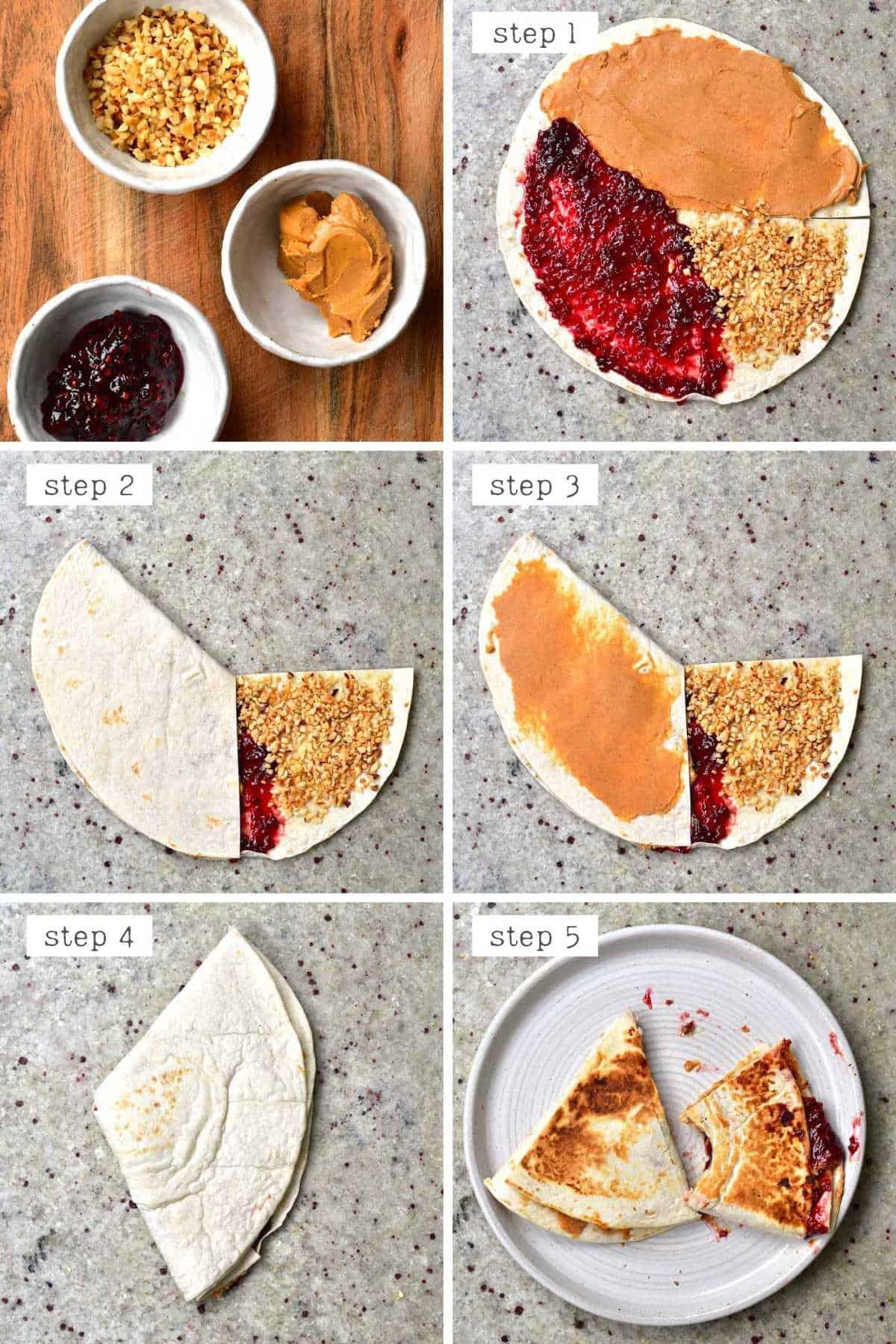 Steps for making PB&J Tortilla