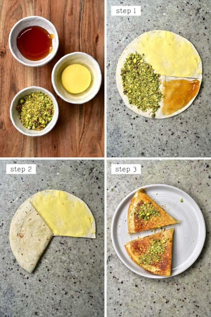 Steps for making a baklava-inspired tortilla