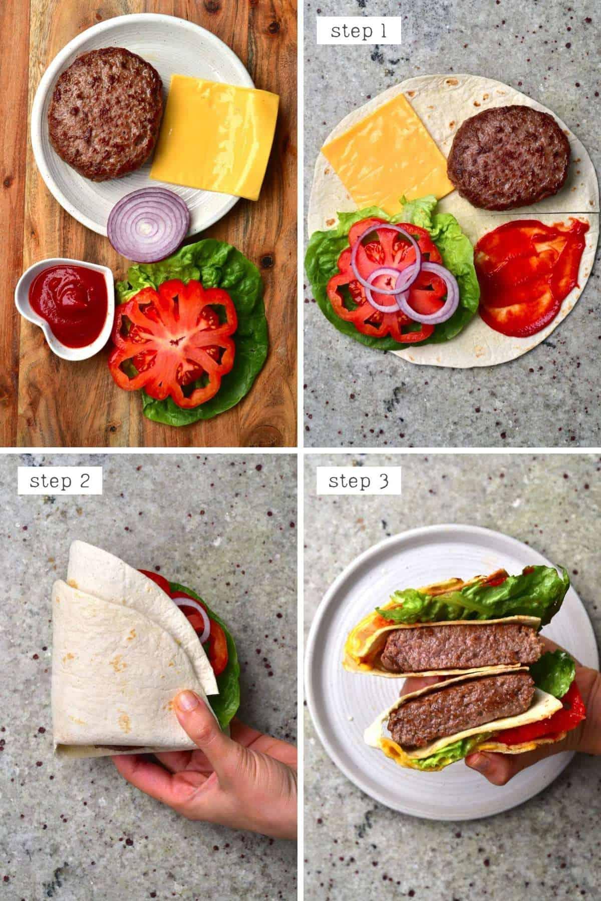 Steps for making a burger tortilla - USA tortilla