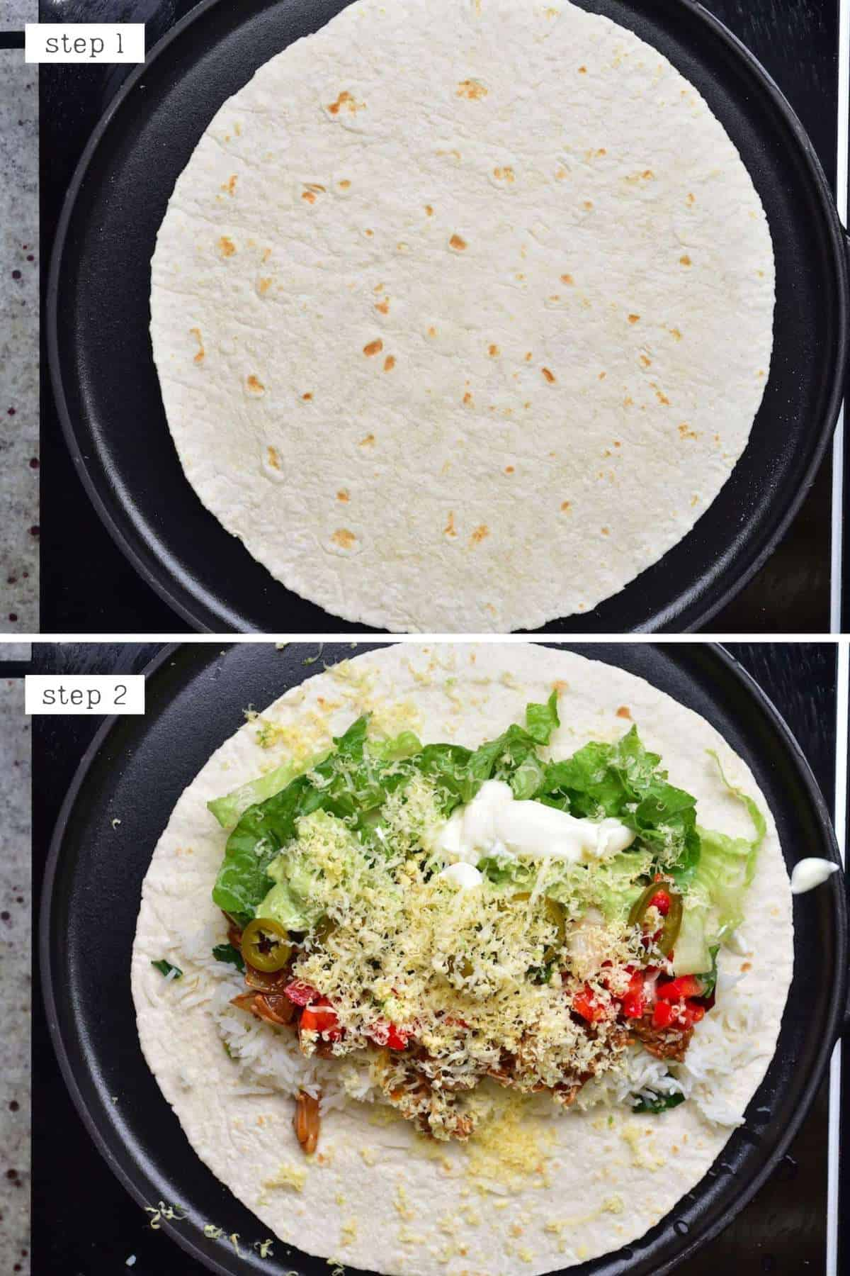 Steps for making a burrito