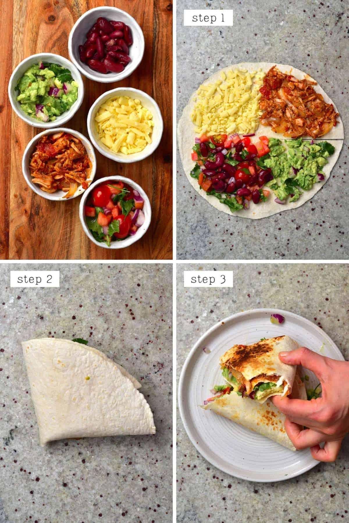Steps for making a carne asada tortilla - Mexican Tortilla