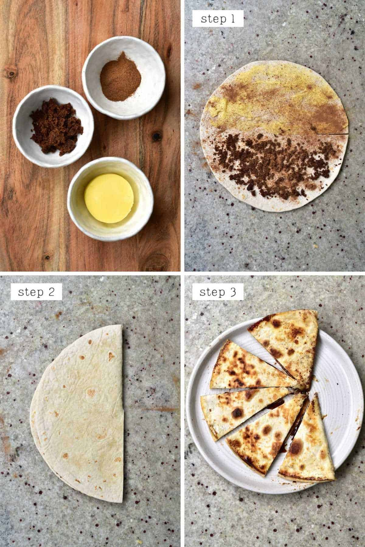 Steps for making a cinnamon butter tortilla