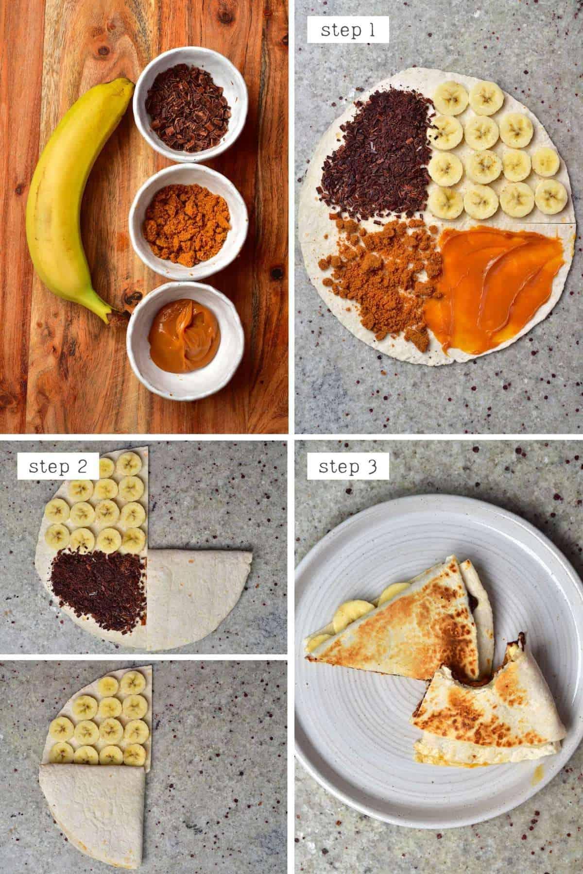 Steps for making a dulce de leche tortilla - Argentina tortilla