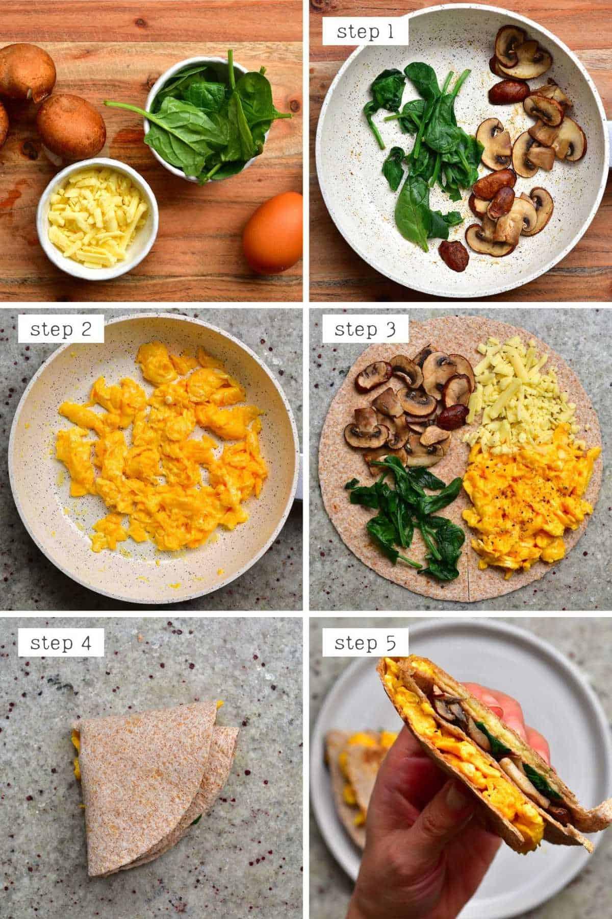 Steps for making a mushroom scrambled eggs breakfast wrap