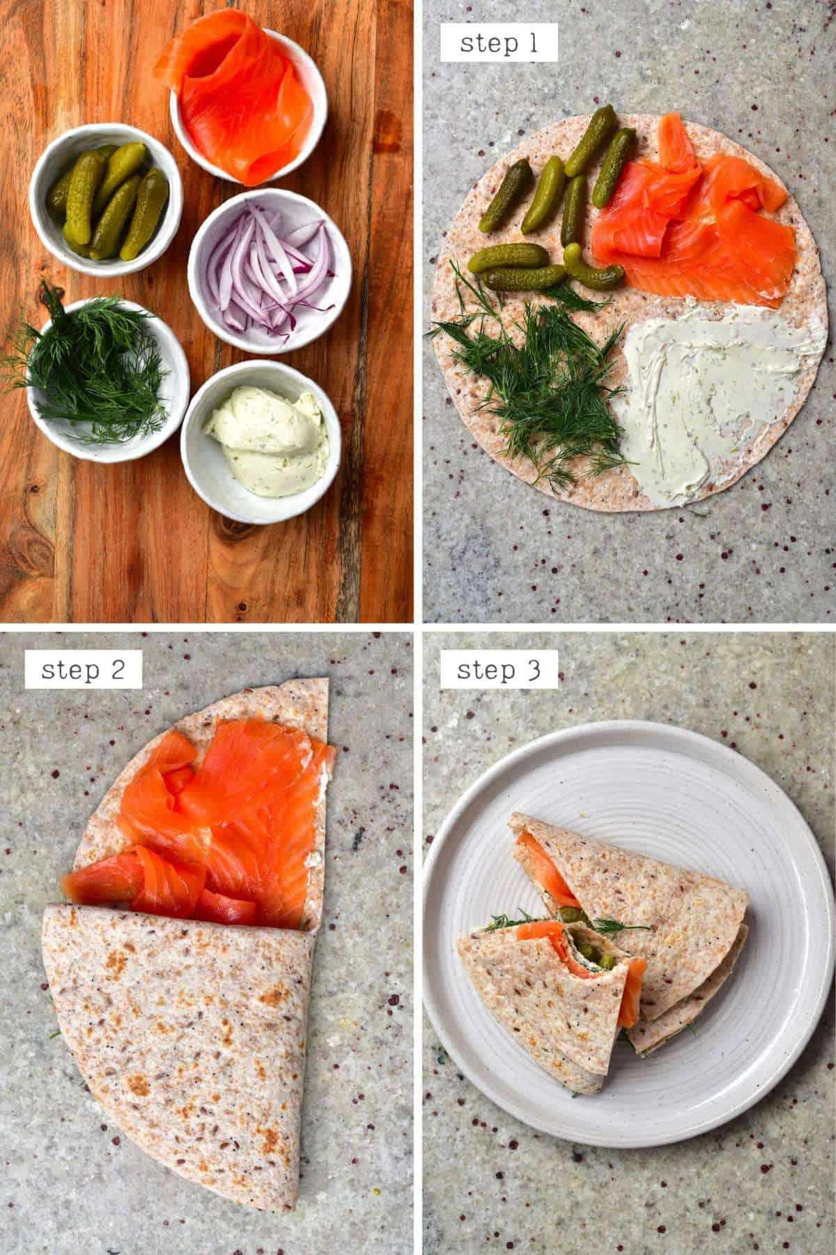 Steps for making a salmon & cream cheese tortilla - Norway tortilla