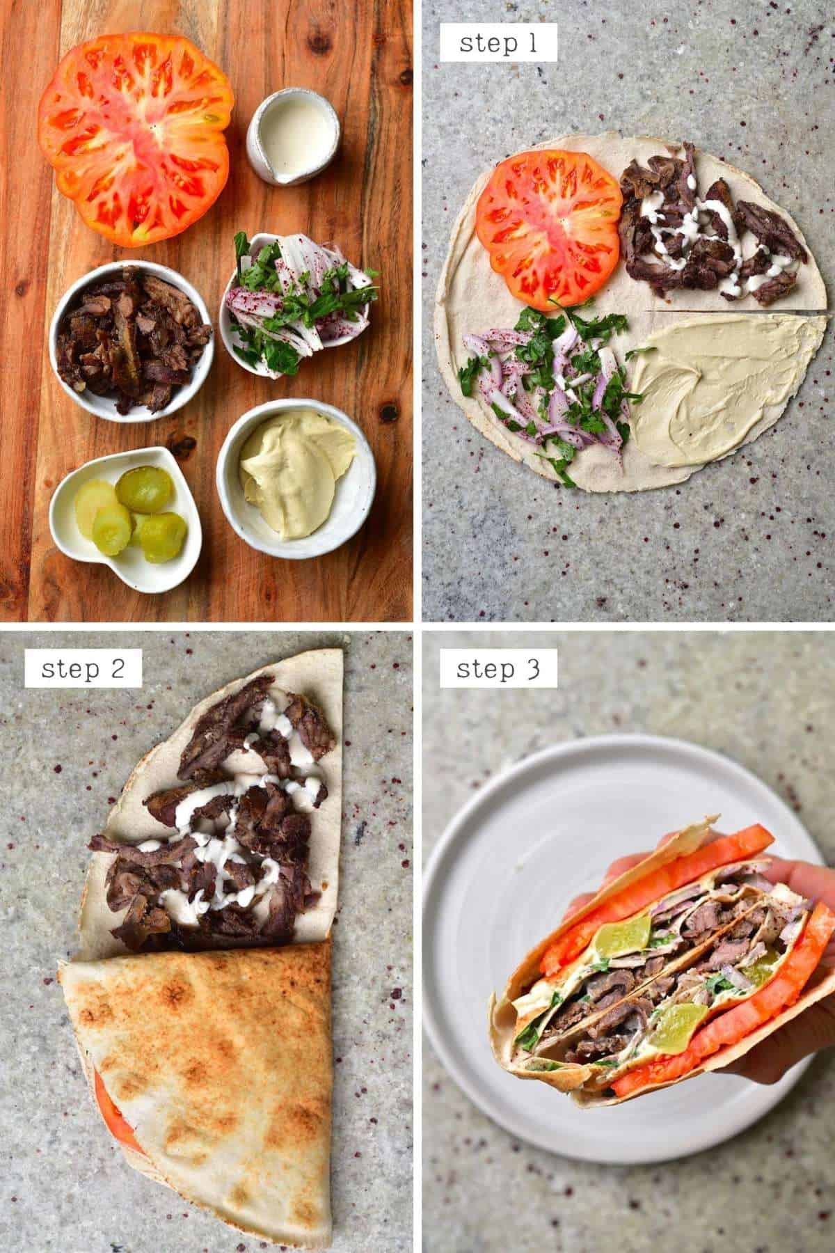 Steps for making a shawarma tortilla - Turkey tortilla