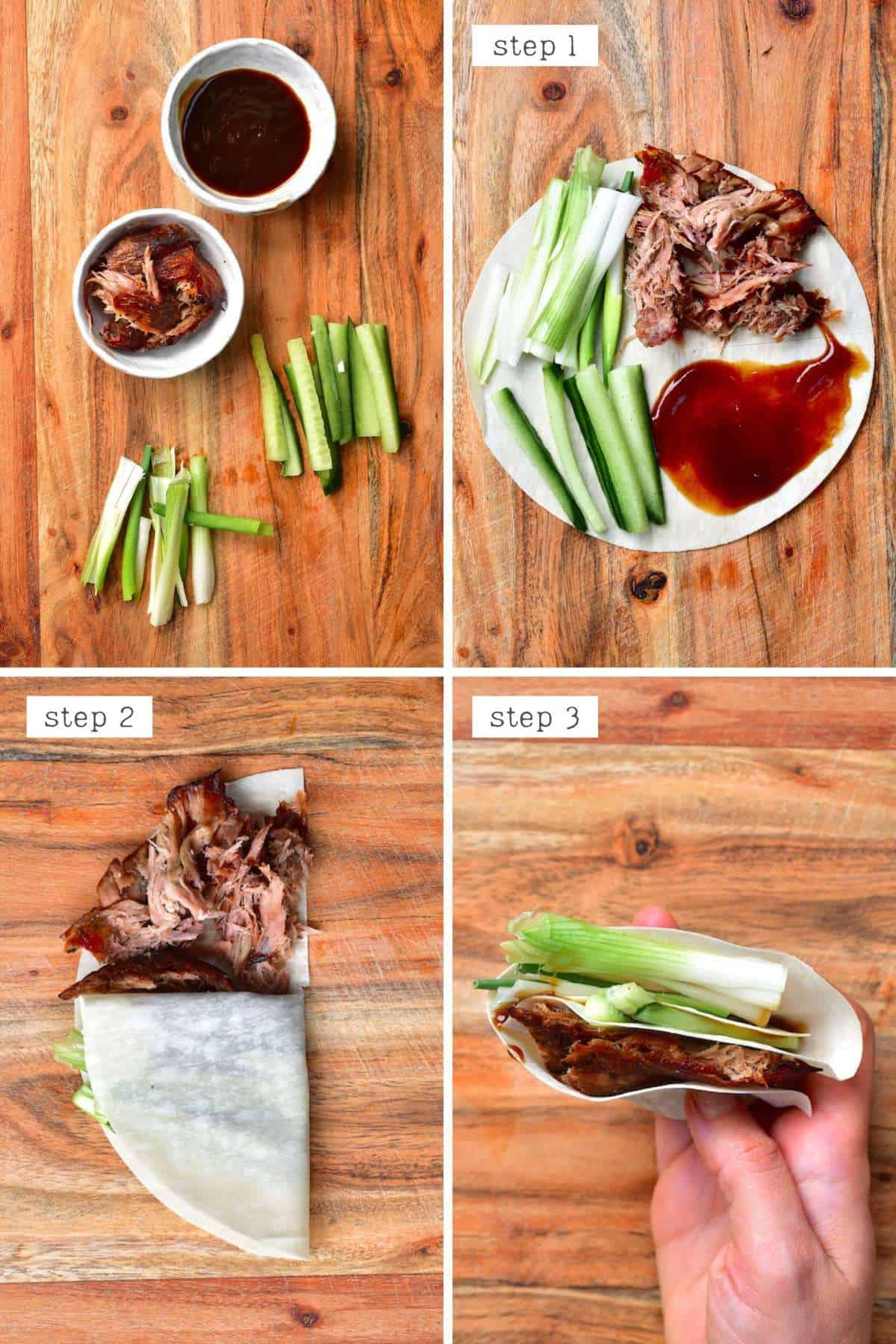 Steps for making a shredded duck tortilla - China tortilla