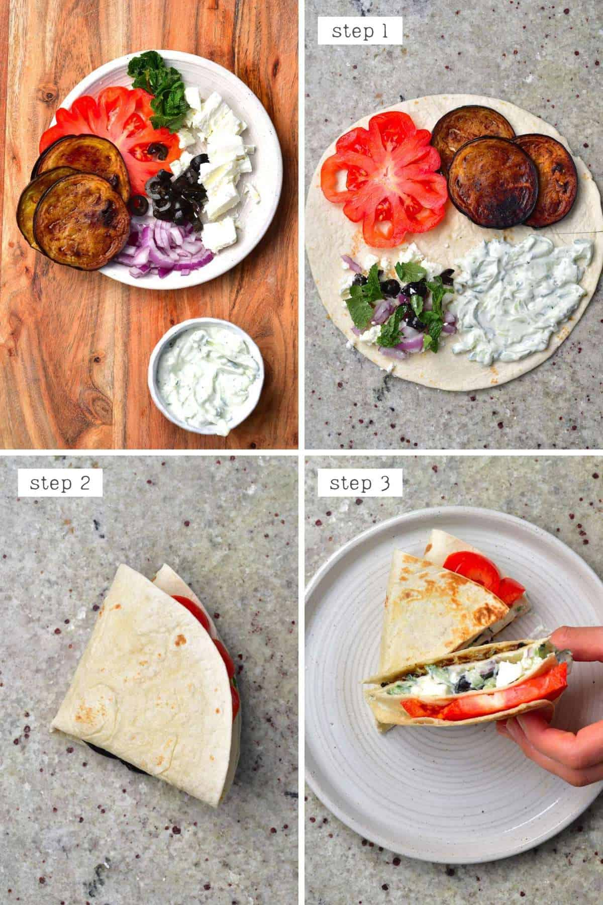 Steps for making an eggplant tortilla - Greece tortilla