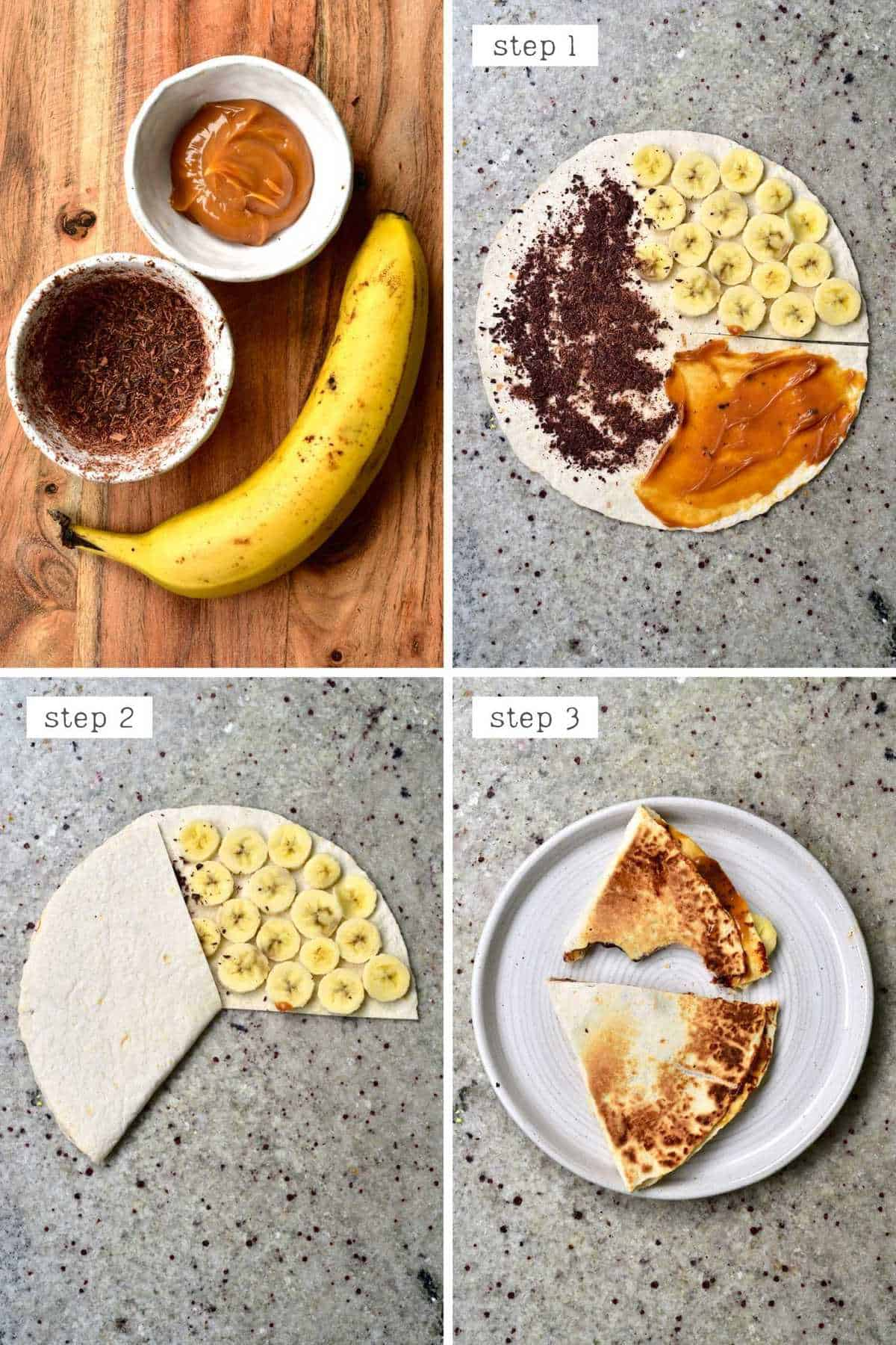 Steps for making banoffee tortilla