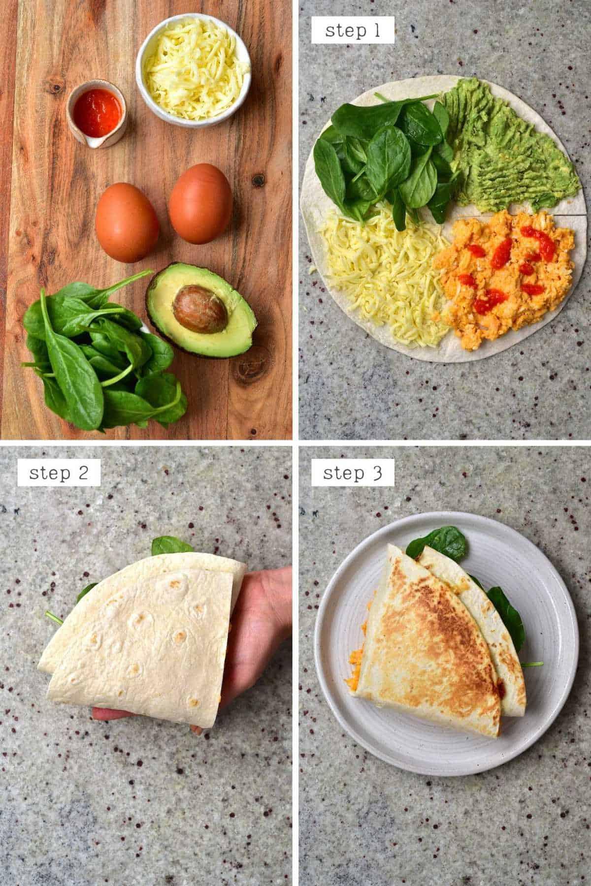 Steps for making breakfast tortilla - High protein breakfast wrap