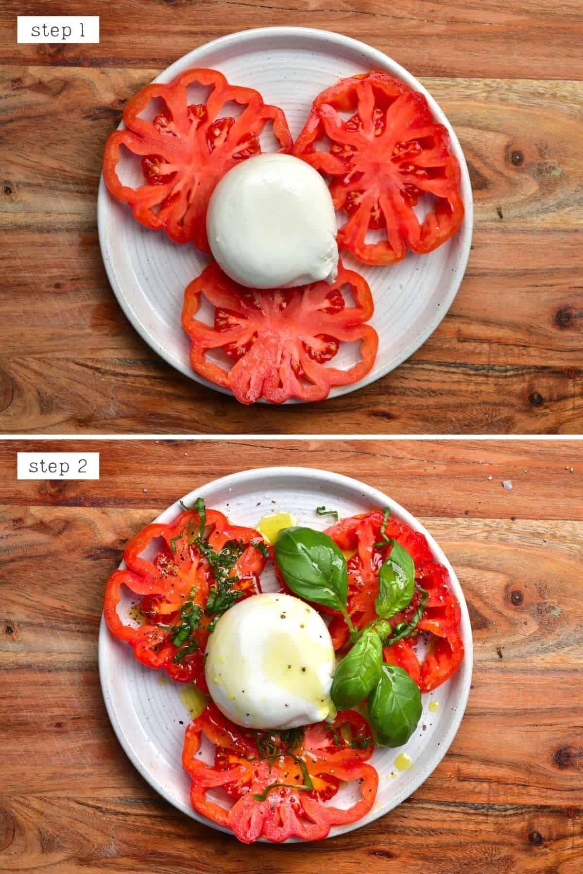 Steps for making burrata tomato salad
