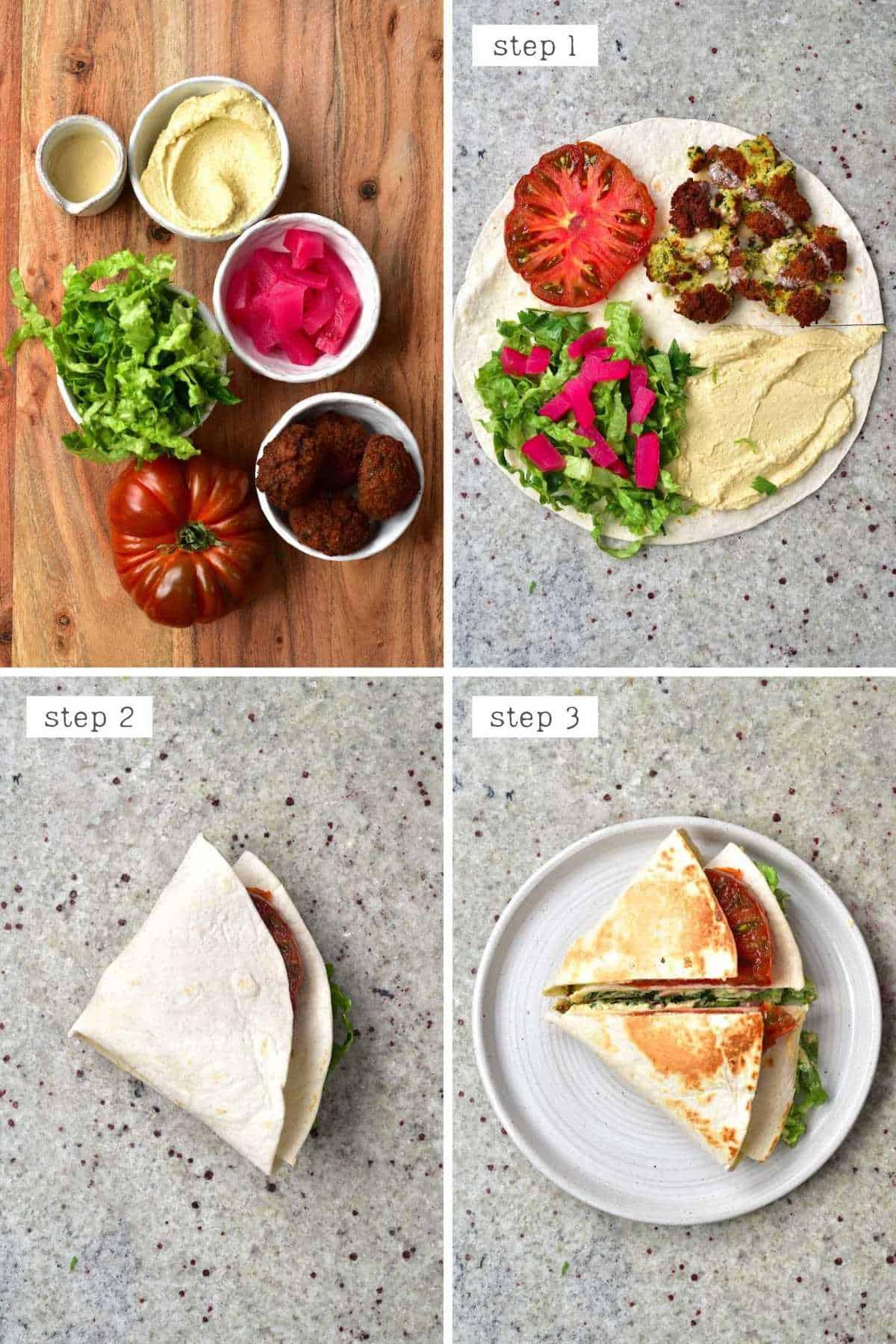 Steps for making falafel tortilla