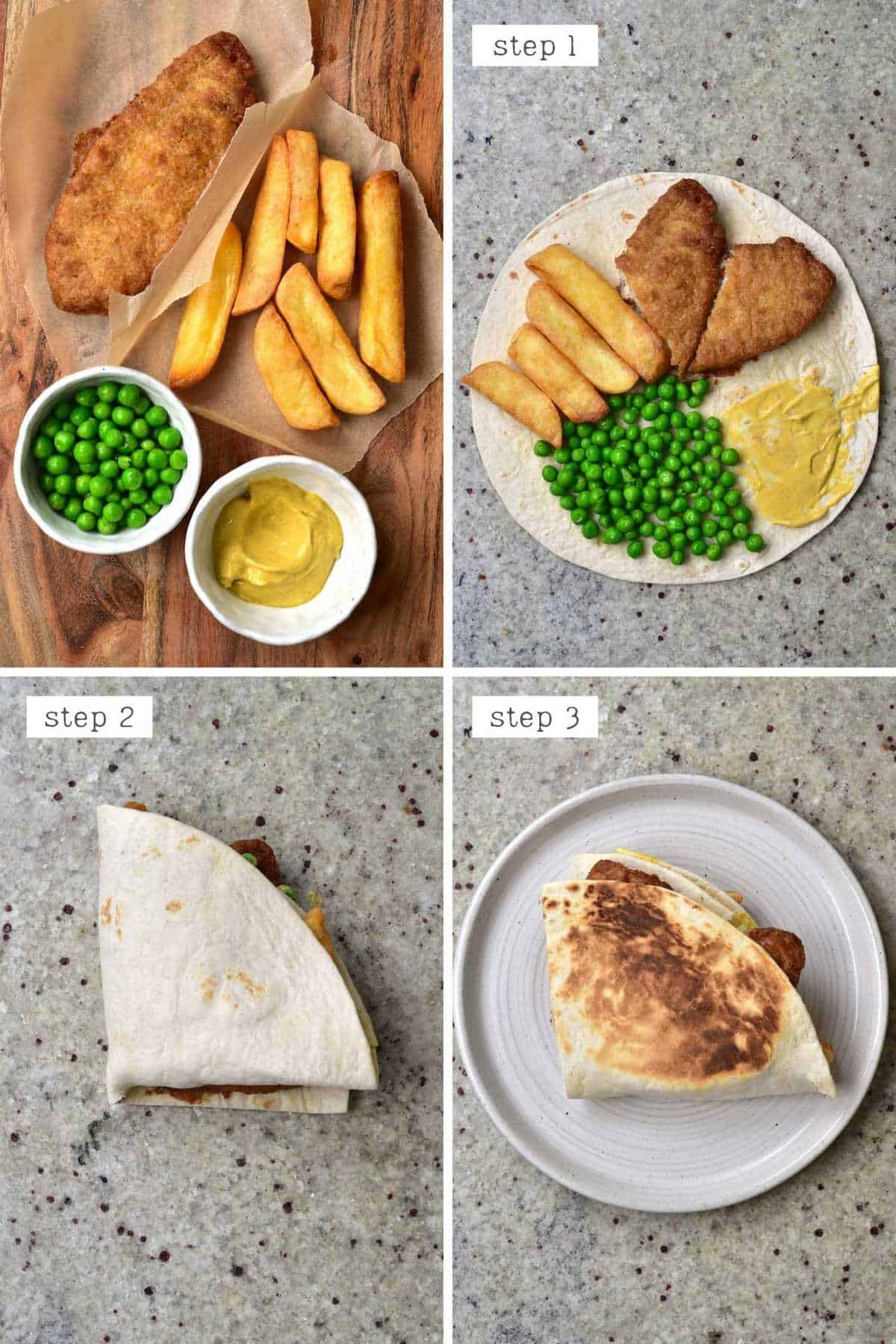 Steps for making fish and chips tortilla - English wrap