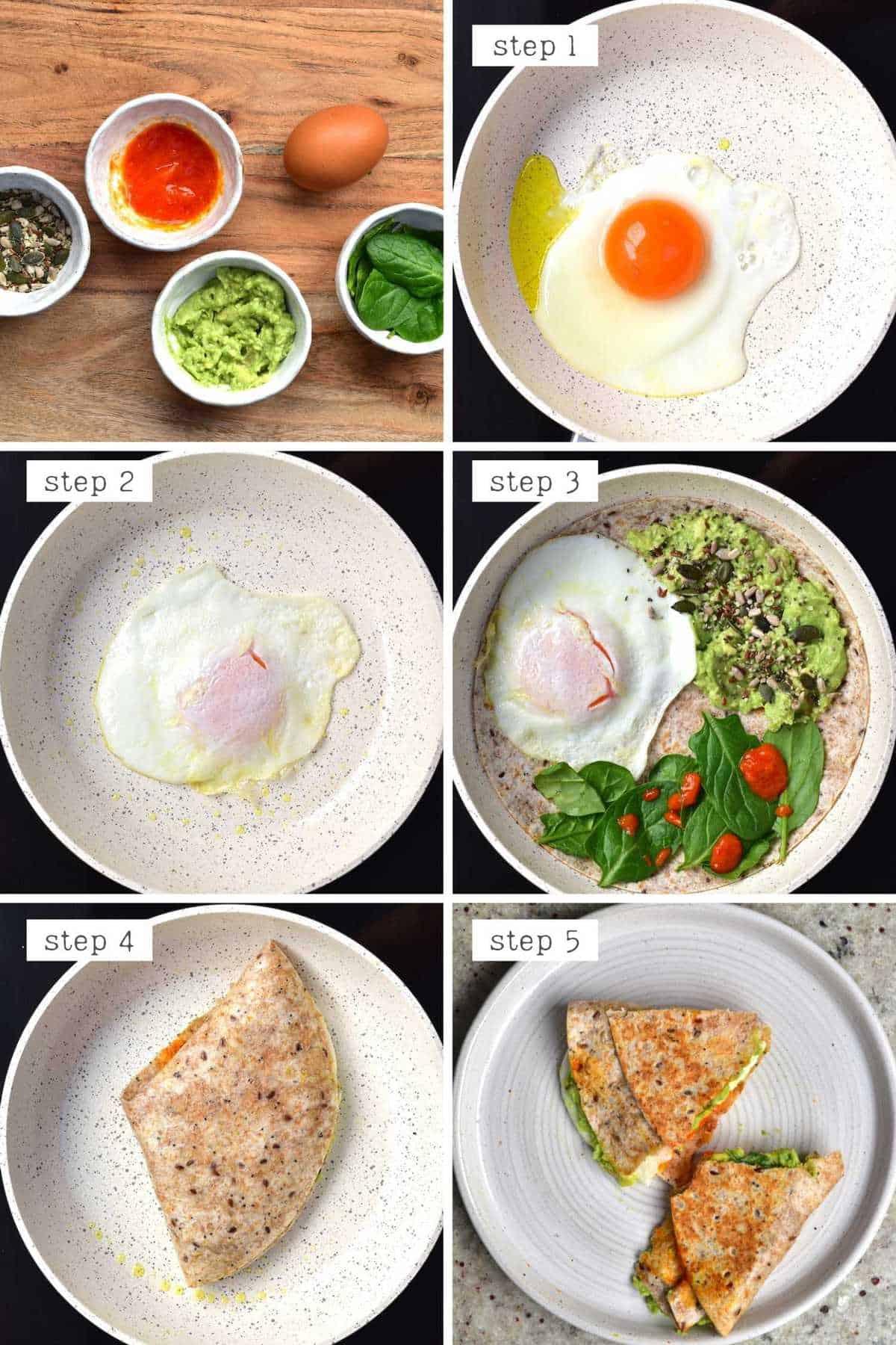Steps for making fried egg breakfast quesadilla
