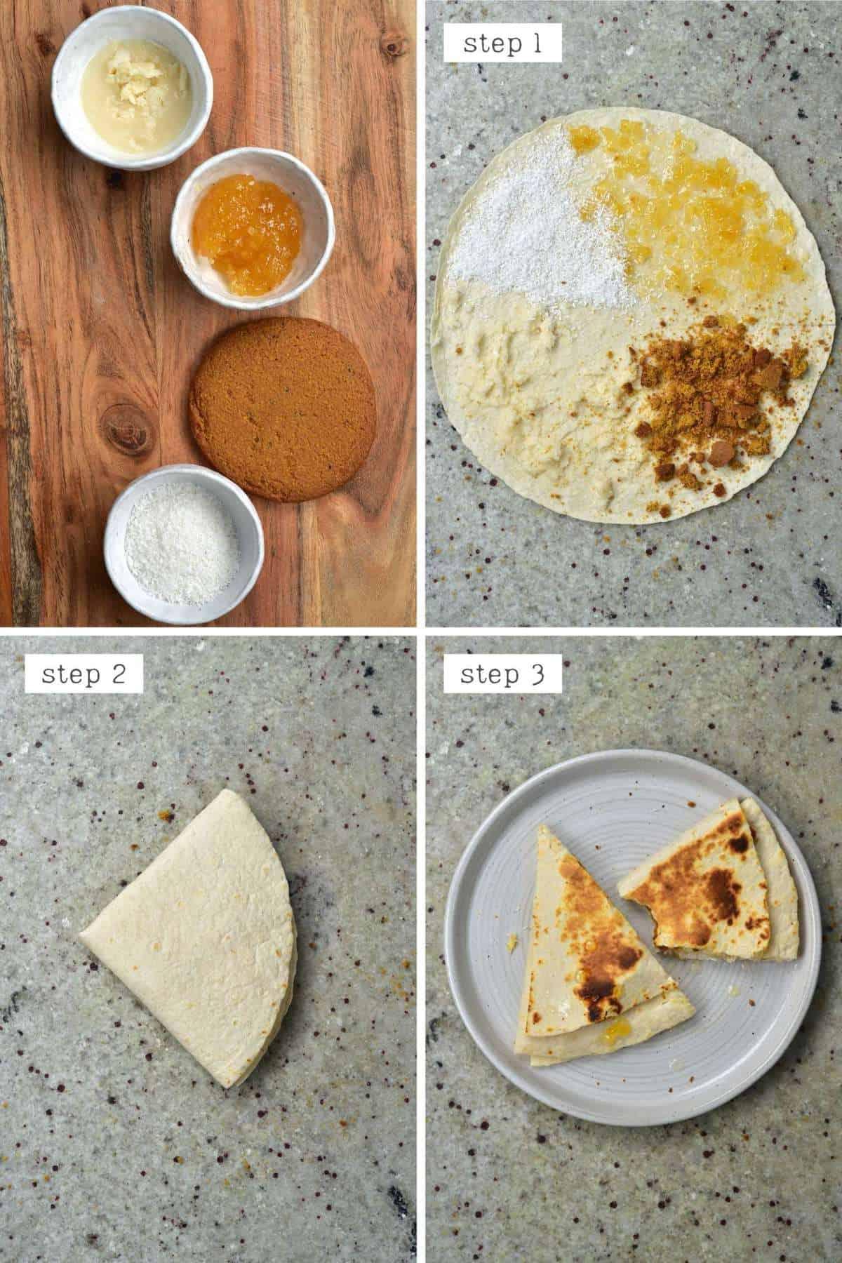 Steps for making ginger jam tortilla