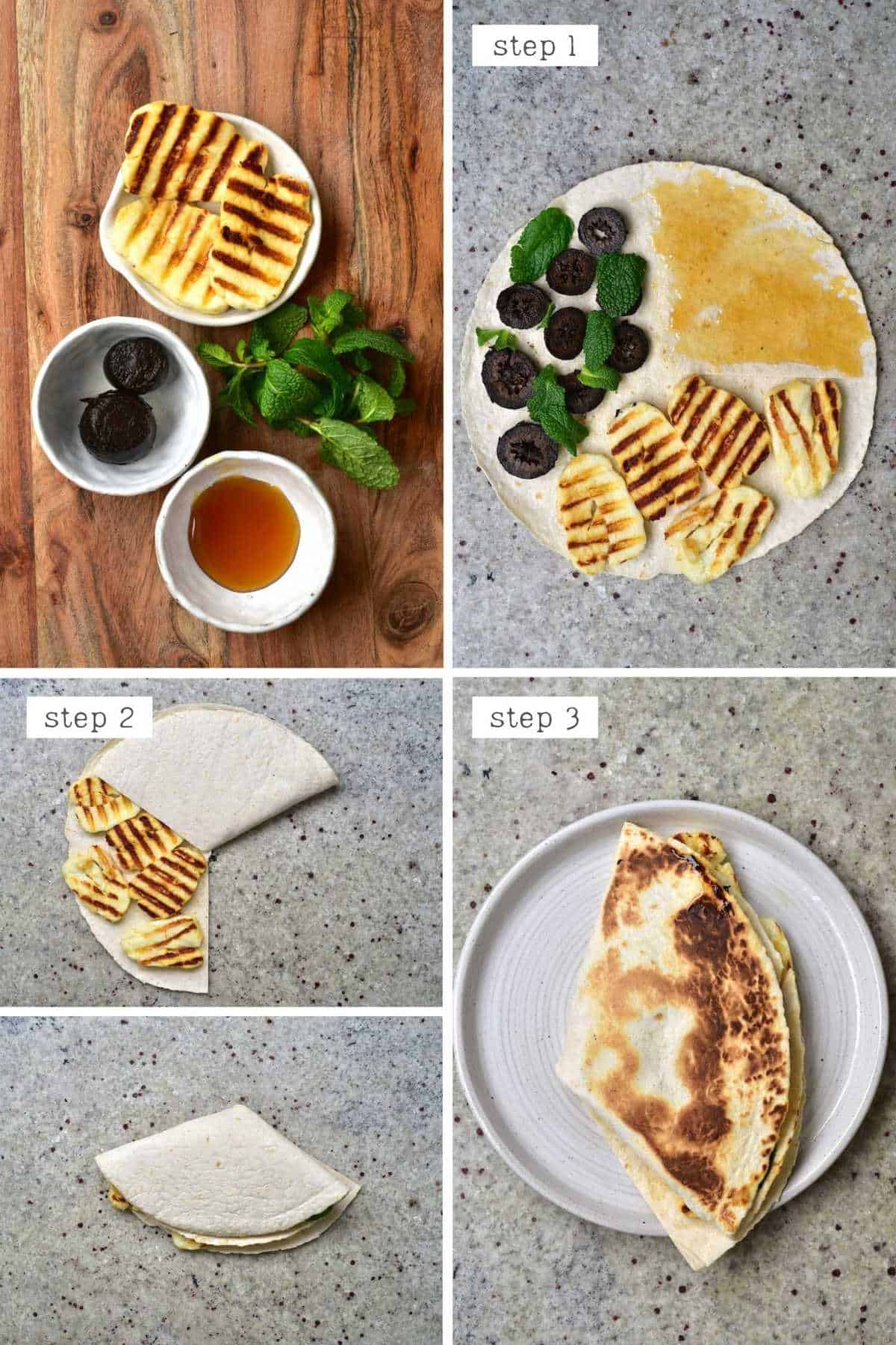 Steps for making Cypriot halloumi wrap