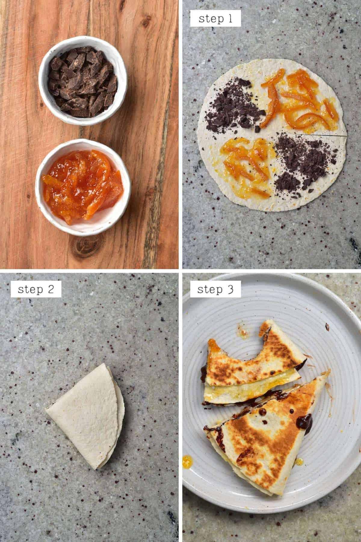 Steps for making jaffa cake tortilla