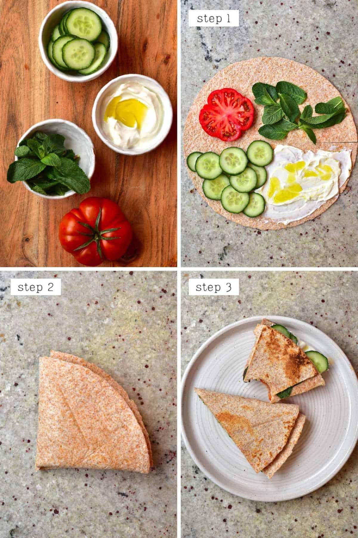 Steps for making labneh breakfast wrap