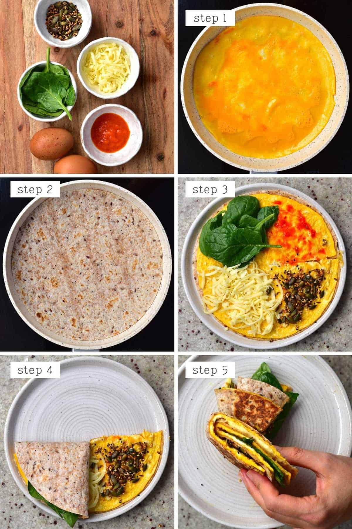 Steps for making omelette breakfast quesadilla