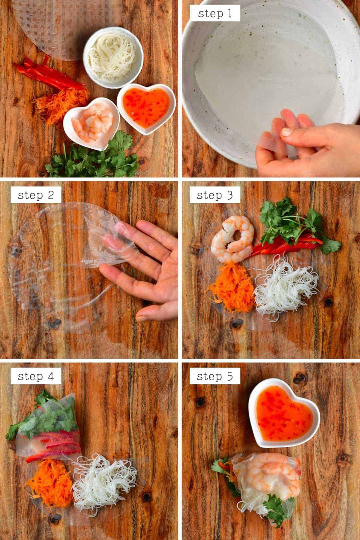 Steps for making rice paper tortilla