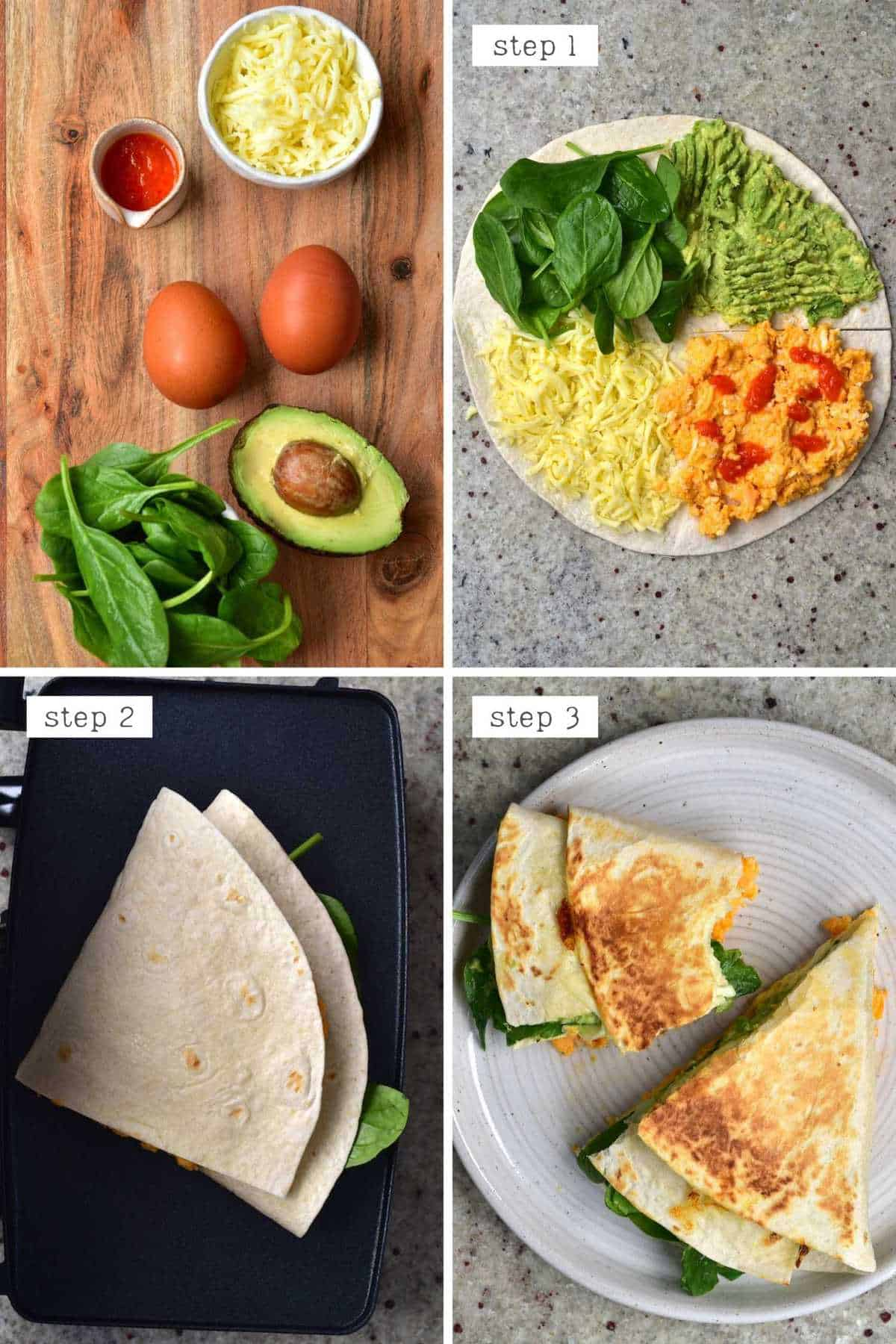 Steps for making scrambled eggs breakfast quesadilla