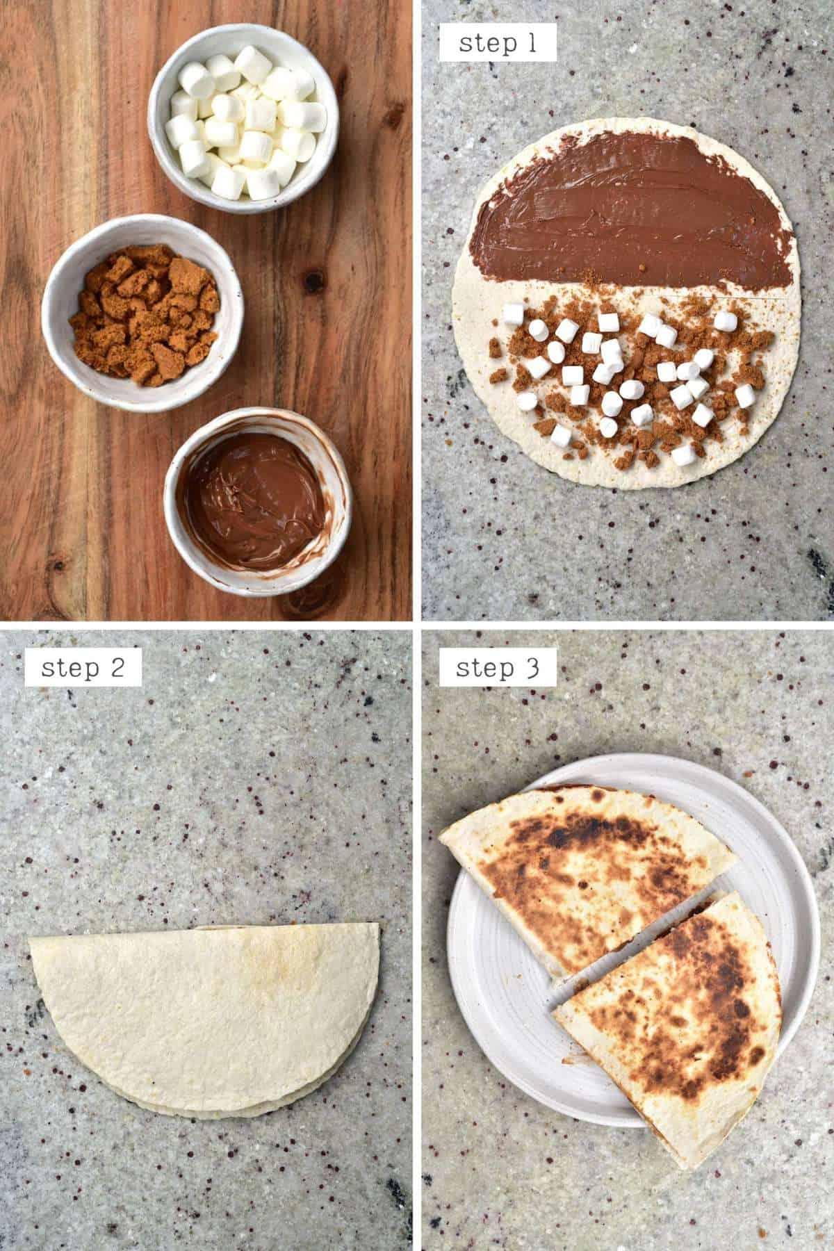 Steps for making smores tortilla