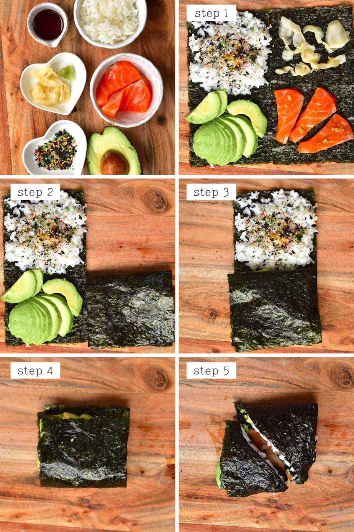Steps for making sushi wrap using viral wrap trend