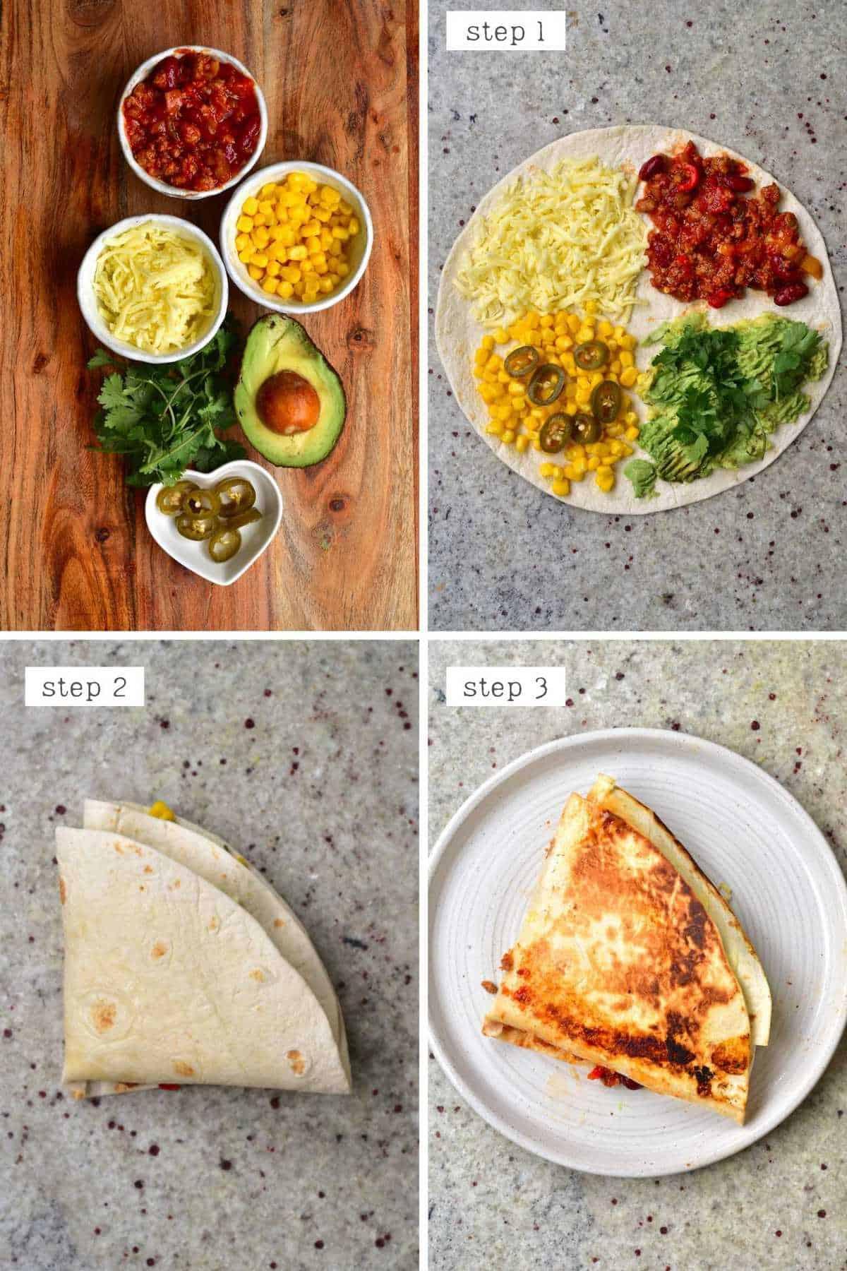 Steps for making vegan chili con carne tortilla