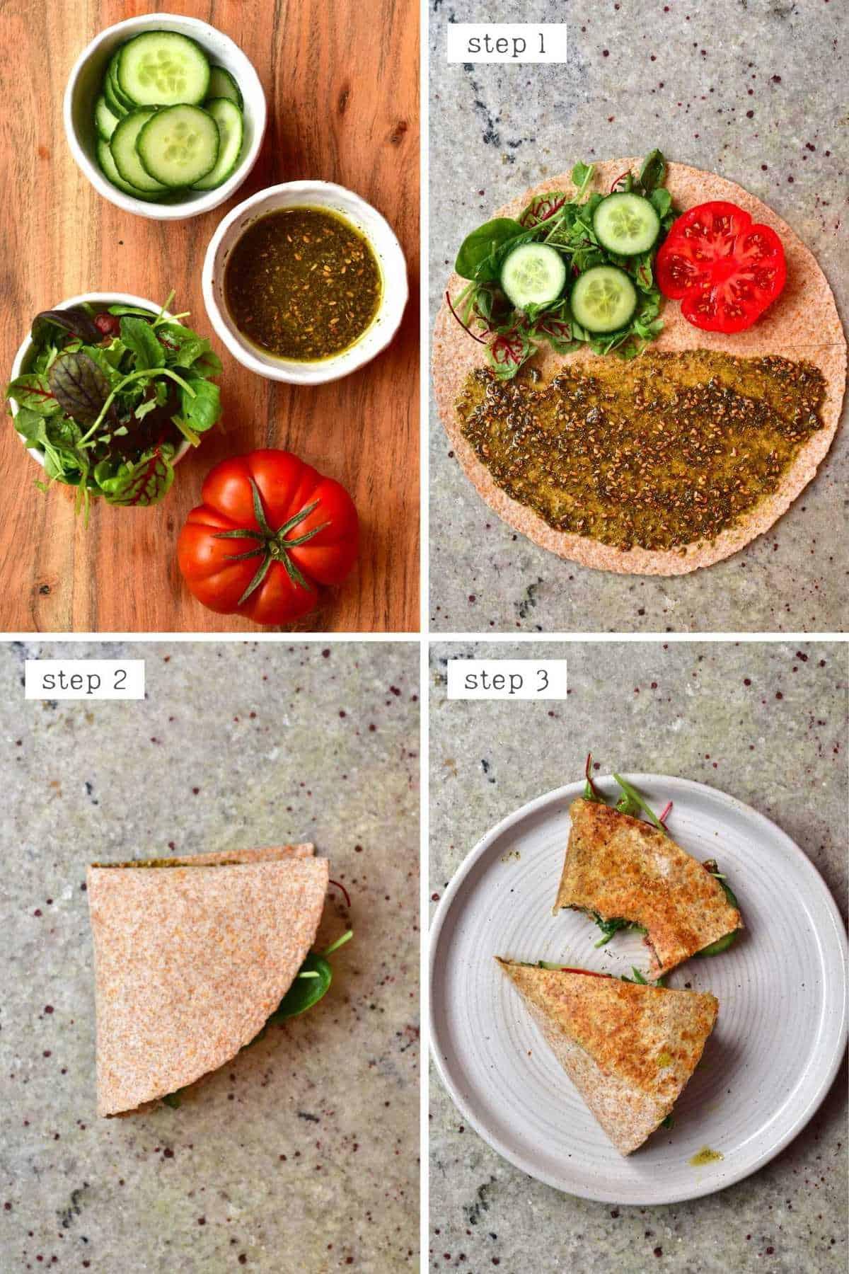 Steps for making zaatar breakfast qrap