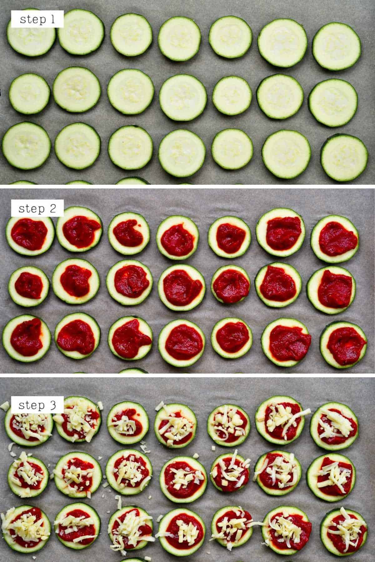 Steps for making zucchini pizzas
