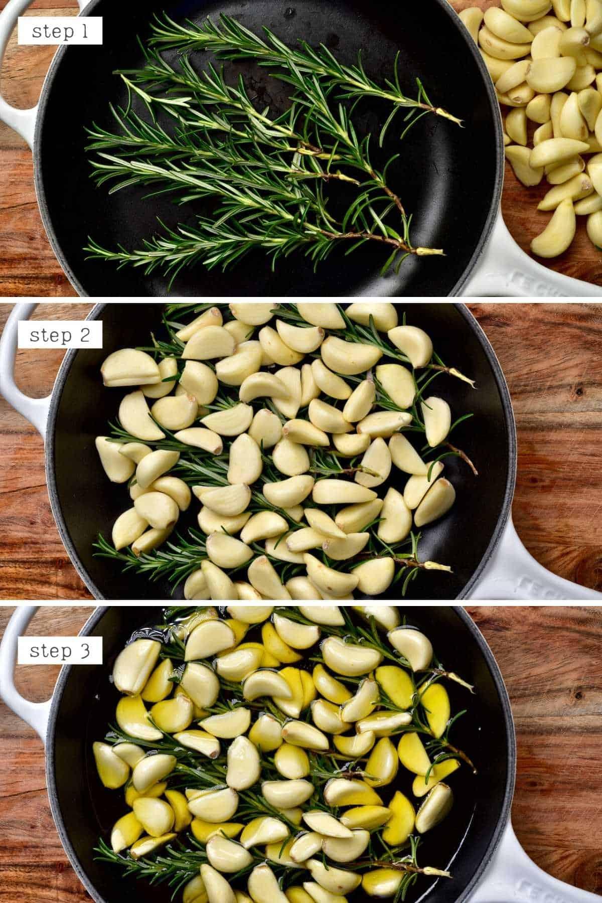 Steps for preparing garlic confit