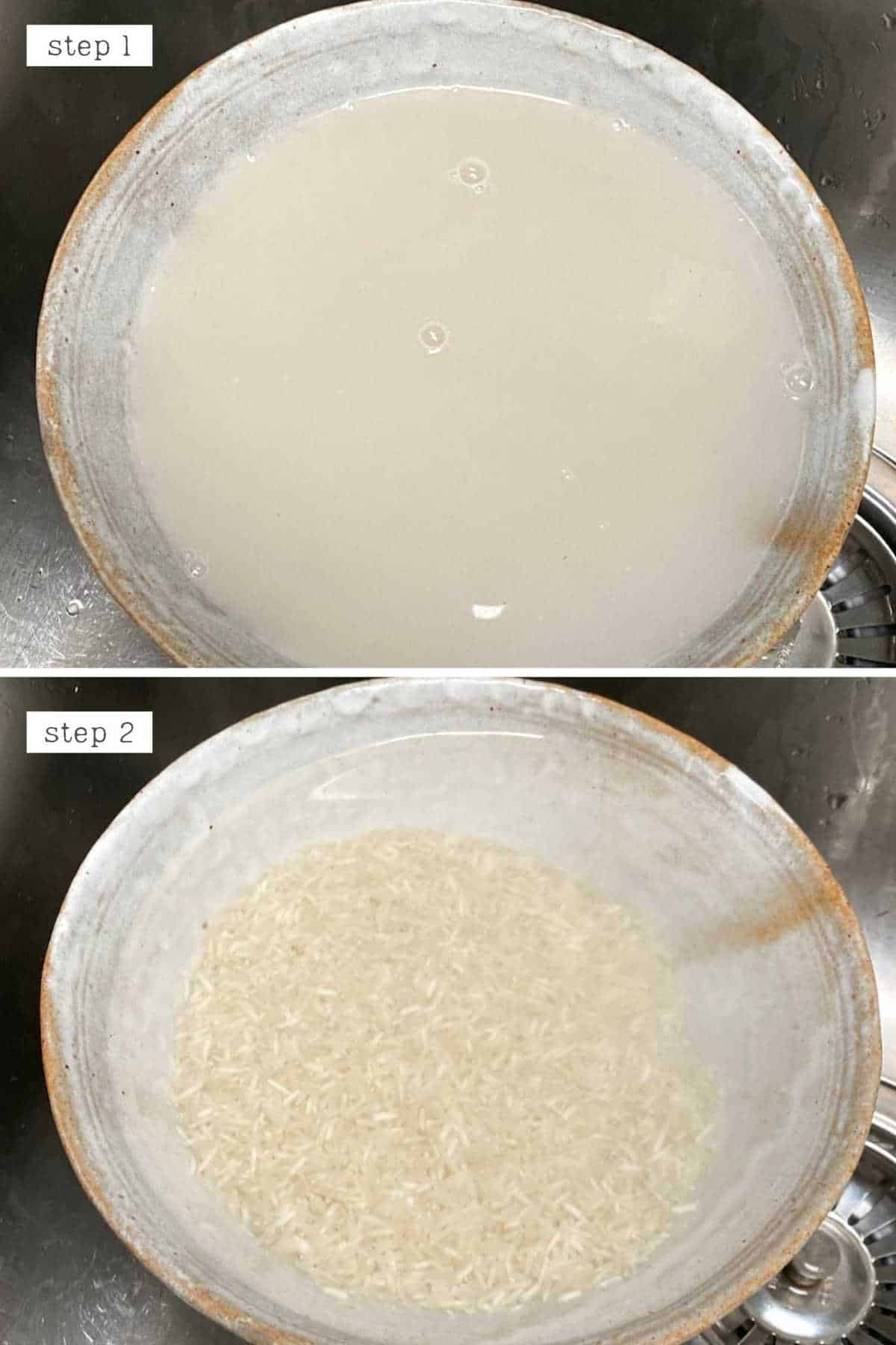 Steps for rinsing basmati rice