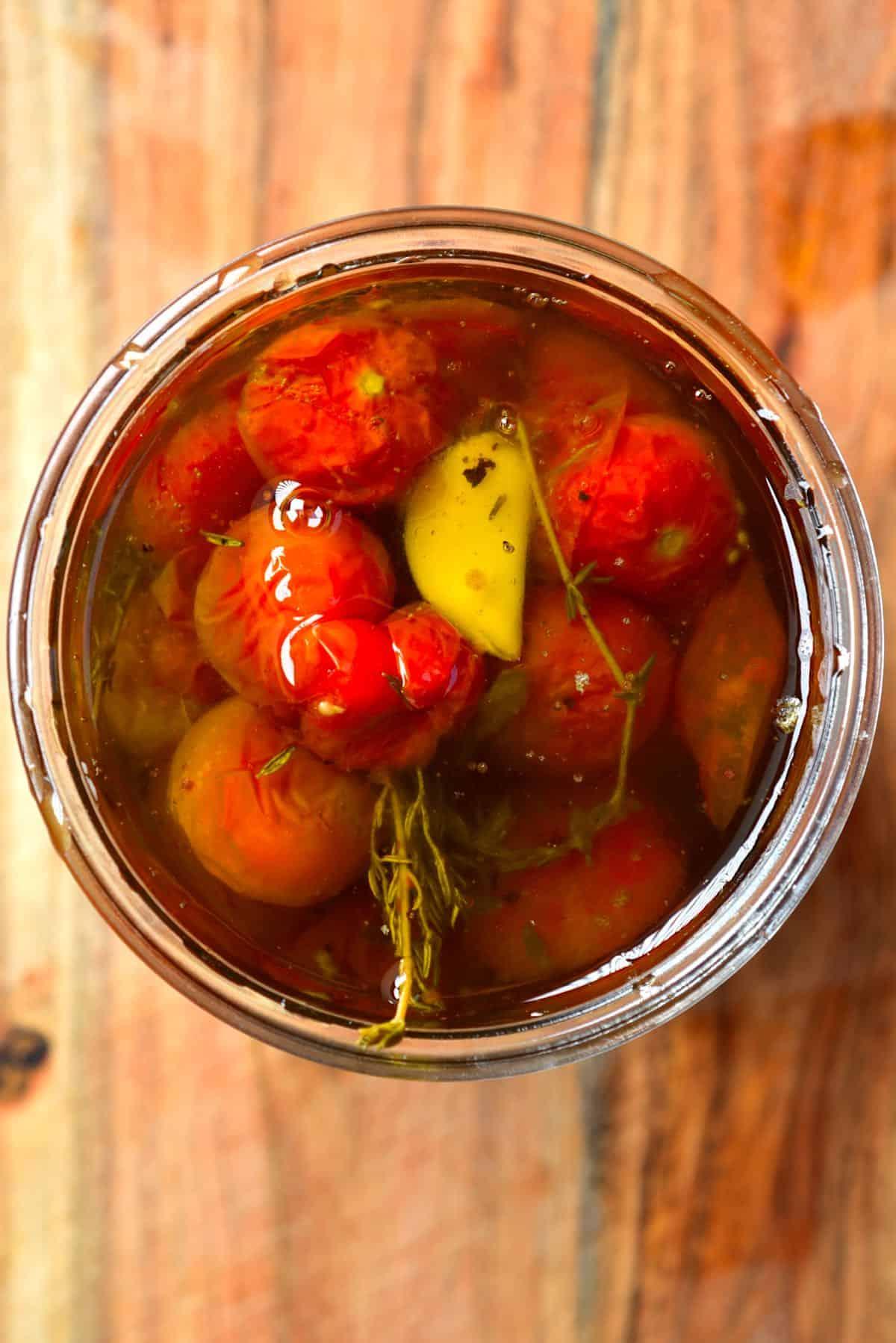 Tomato confit in a jar