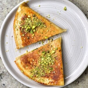 Baklava inspired folded tortilla topped with crushed pistachios