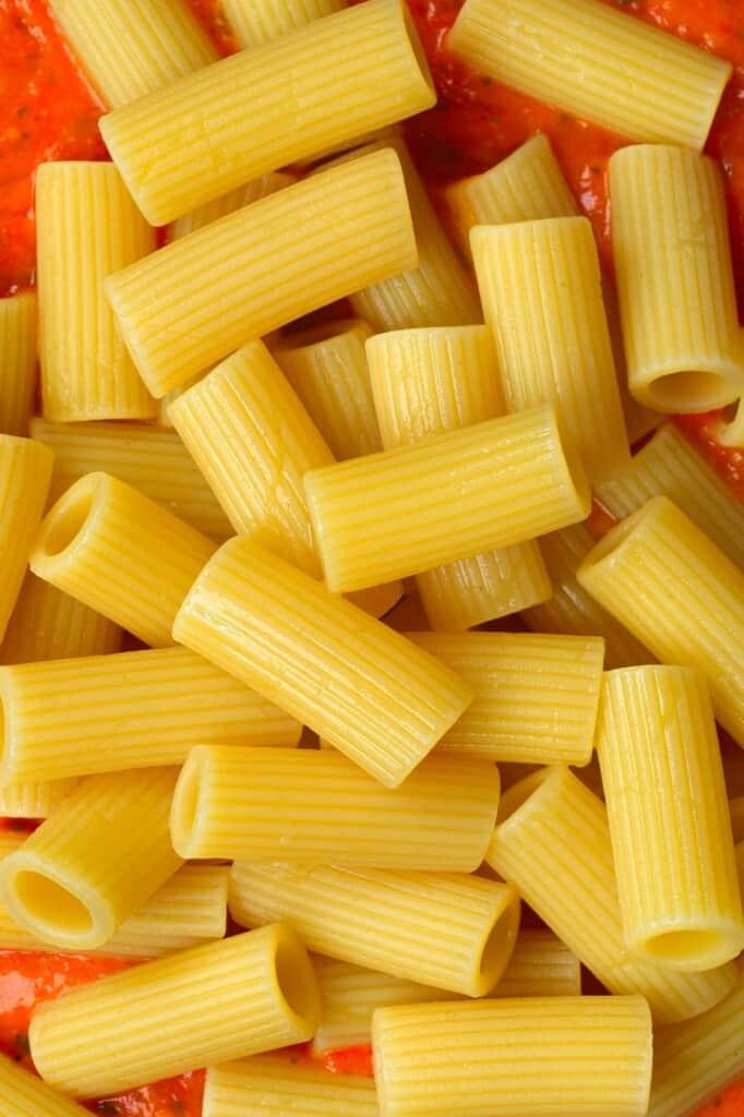Penne pasta close up
