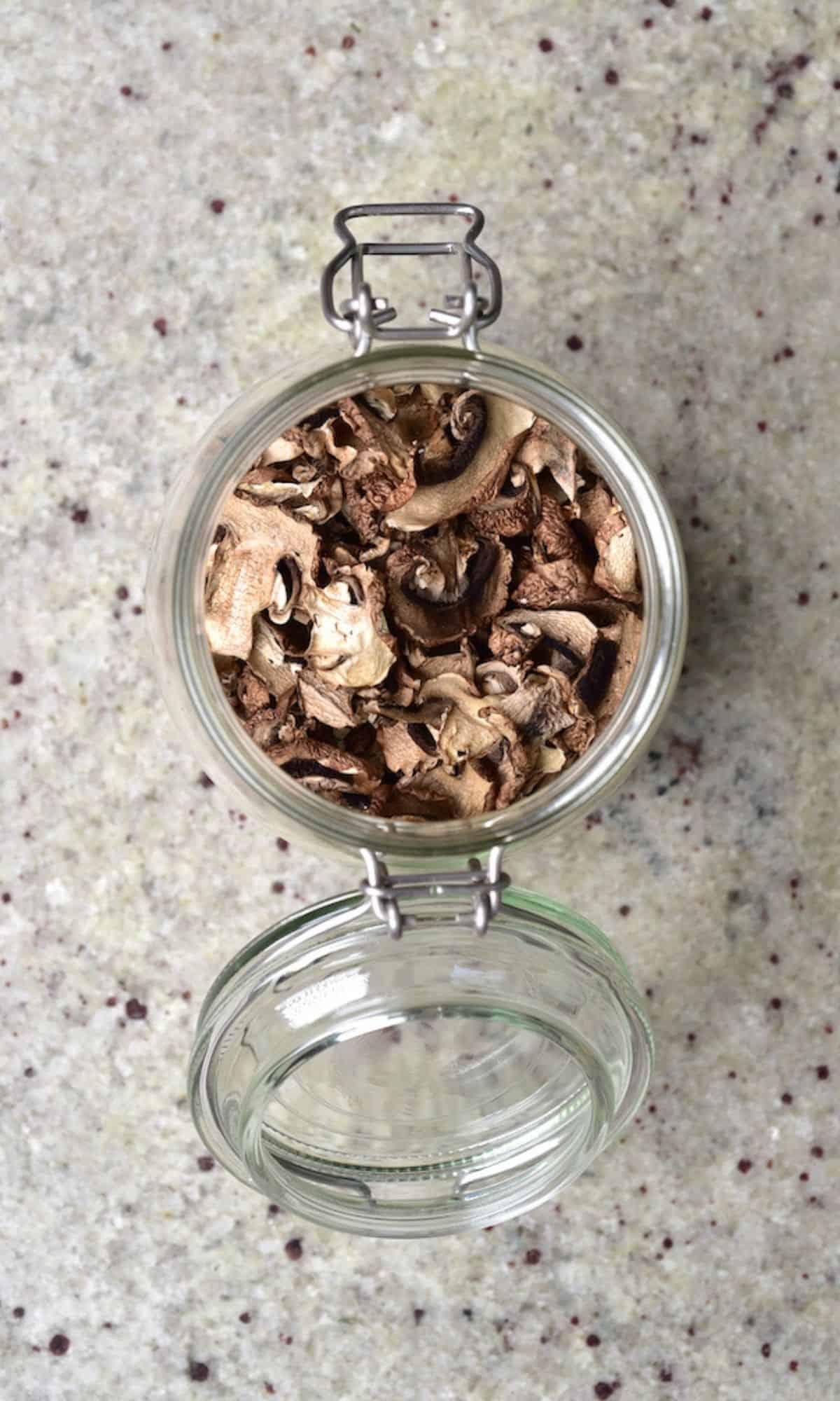 A jar with dried mushrooms