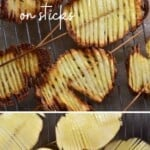 Accordion potatoes before and after baking